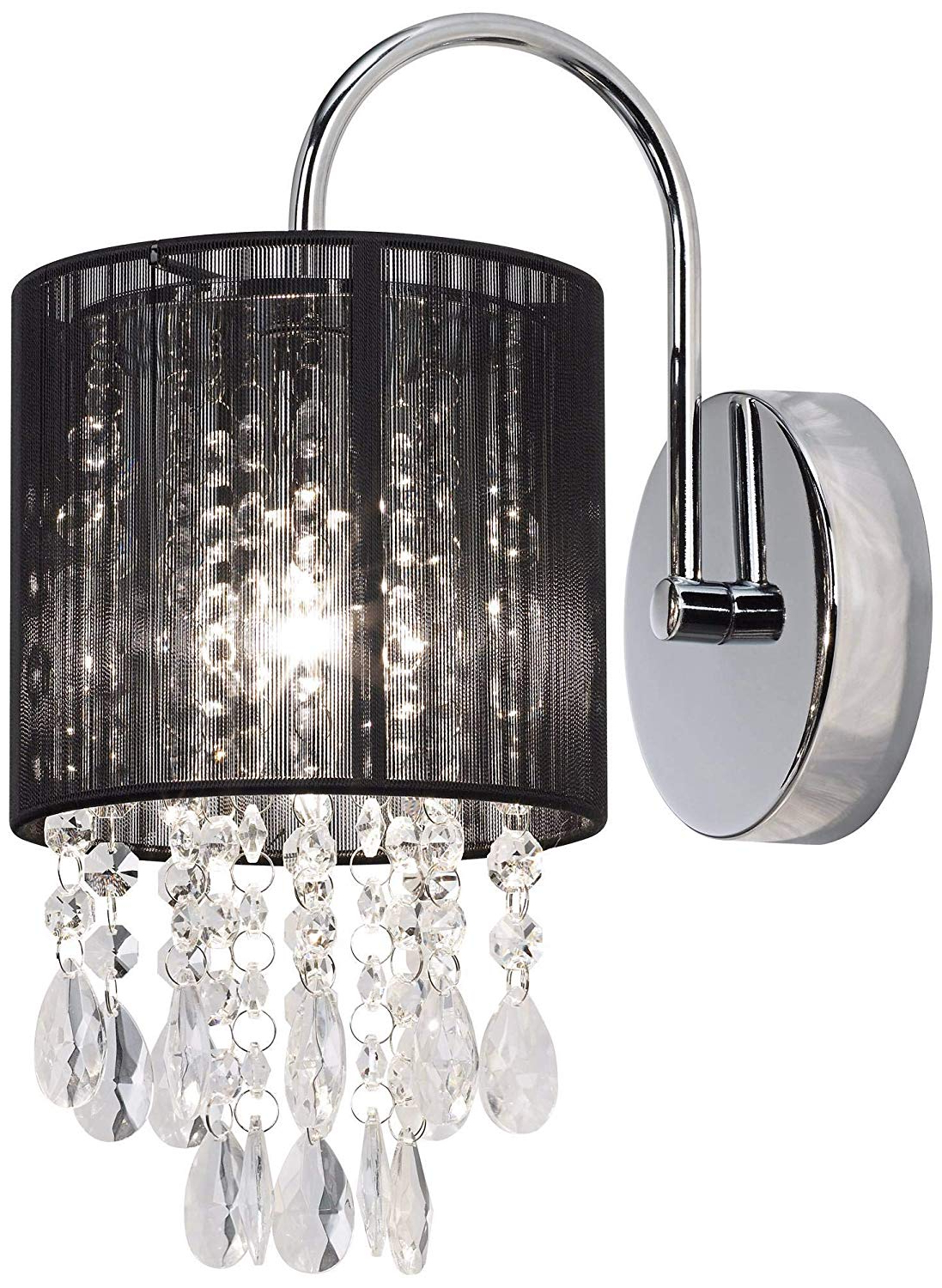 "Kraker 1 Light Single Cylinder Pendants With Latest Modern Wall Light Sconce Chrome Hardwired 12"" High Fixture Black Thread  Shade Crystal Accents For Bedroom Bathroom Hallway – Possini Euro Design (View 9 of 25)"