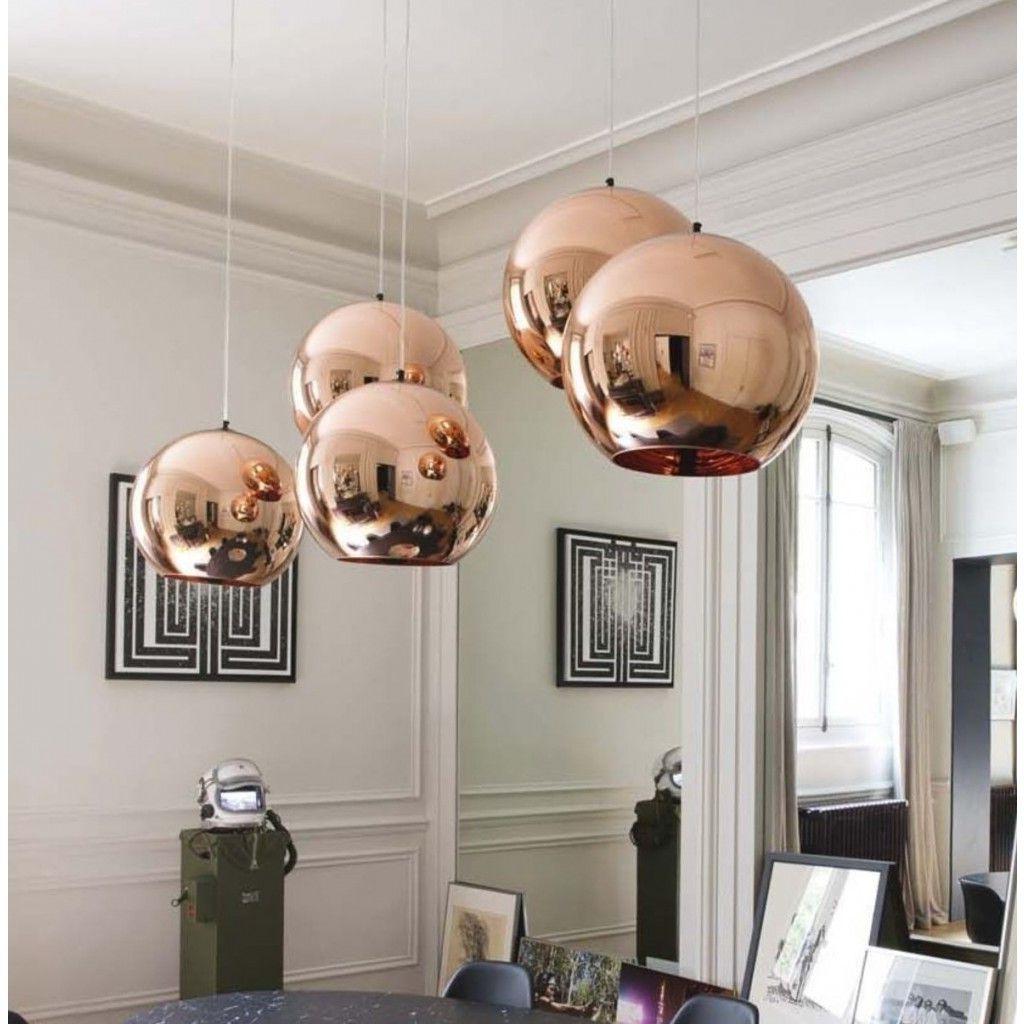 Lampa Sufitowa Lobos Miedziana Kula Lumina Deco Ldp 107 Pertaining To Well Known Leiters 3 Light Lantern Geometric Pendants (View 20 of 25)