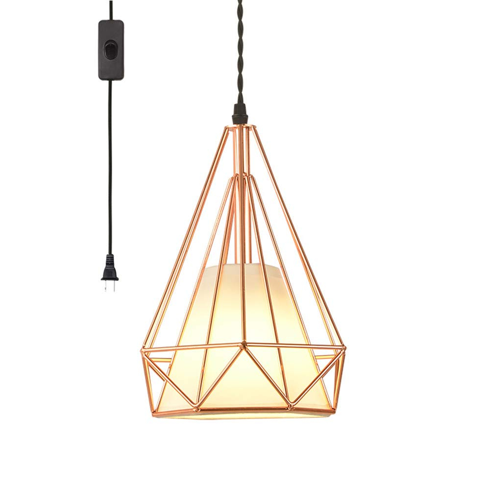 Latest 1 Light Geometric Globe Pendants For Efinehome Geometric Cage Swag Light, Modern Industrial 1 Light Plug In  Pendant Light, Rose Gold, 15 Foot Black Designer Cloth Rope In Line On/off (View 16 of 25)