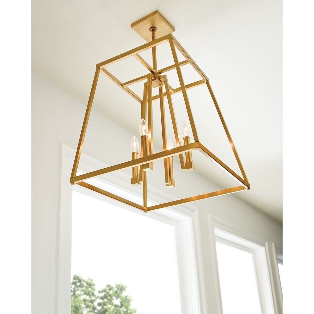 Latest Feiss Lighting Conant Gilded Satin Brass Pendant Light Throughout Tiana 4 Light Geometric Chandeliers (View 15 of 25)