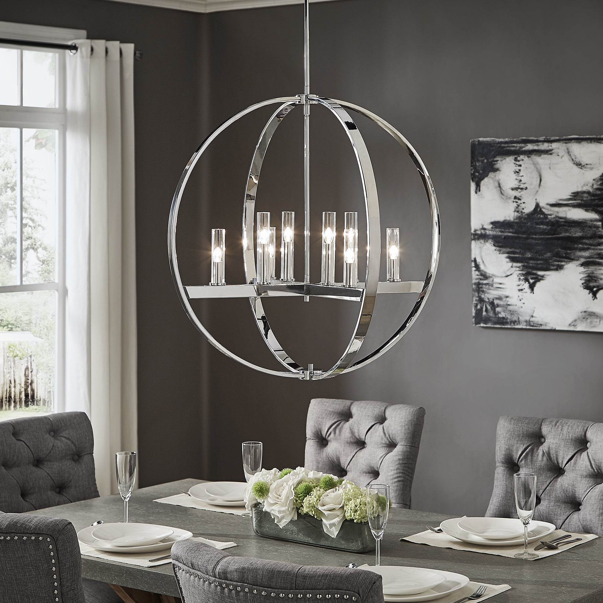 Latest Jasper Chrome Finish Adjustable 8 Light Orb Chandelierinspire Q Modern Regarding Lynn 6 Light Geometric Chandeliers (View 21 of 25)