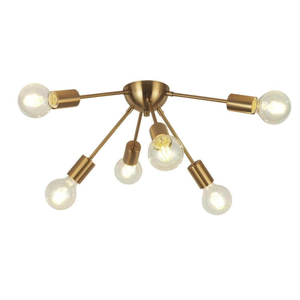 Latest Vinluz 6 Light Sputnik Chandelier Brass Mid Century Modern Ceiling Light Retro Chandelier Lighting For Kitchen Dining Room Bedroom Hallway Foyer With Silvia 6 Light Sputnik Chandeliers (View 6 of 25)
