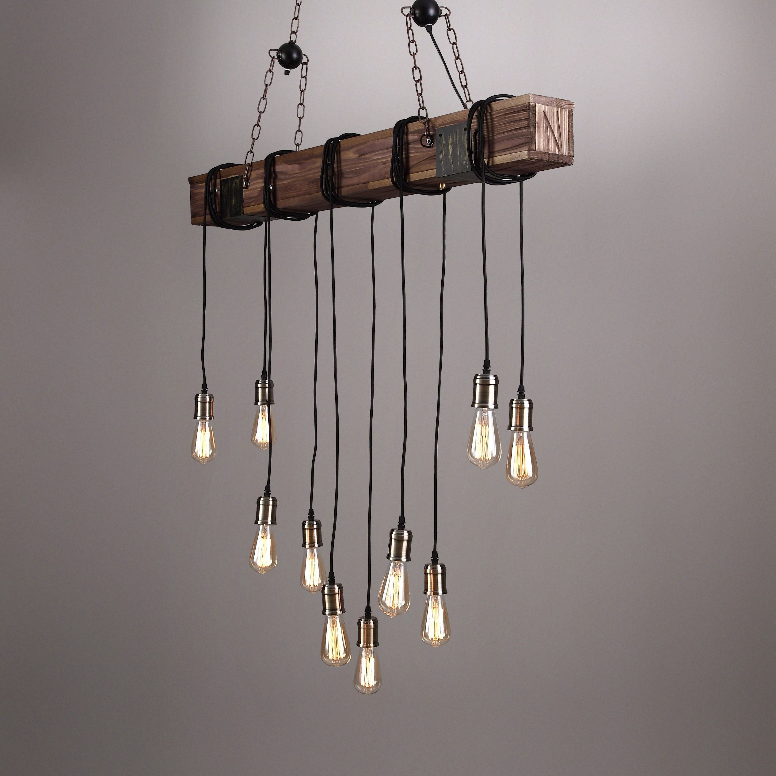 Latest Vintage Edison 1 Light Bowl Pendants Within Farmhouse Style Dark Distressed Wood Beam Large Linear Island Pendant Light  10 Edison Bulbs (View 21 of 25)