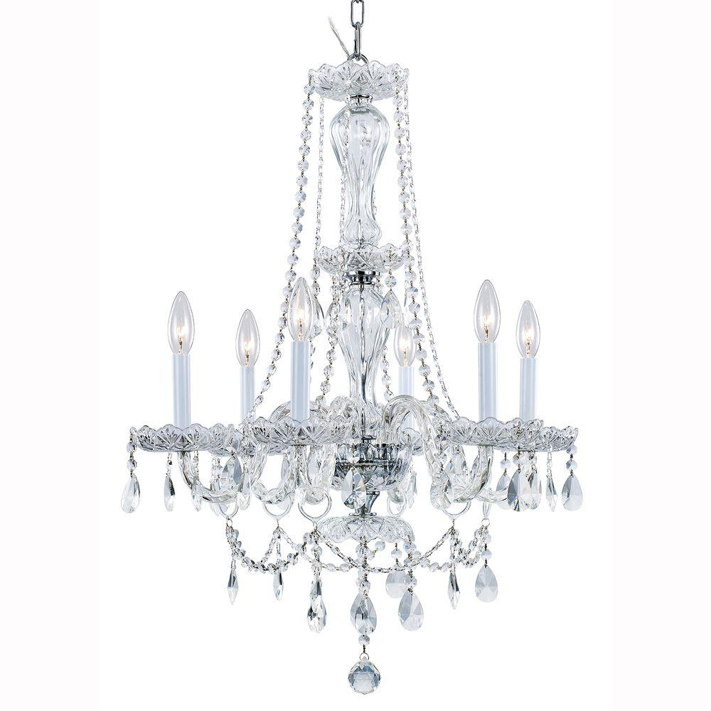 Latest Von 4 Light Crystal Chandeliers In Hampton Bay Lake Point 4 Light Chrome And Clear Crystal Chandelier (View 15 of 25)