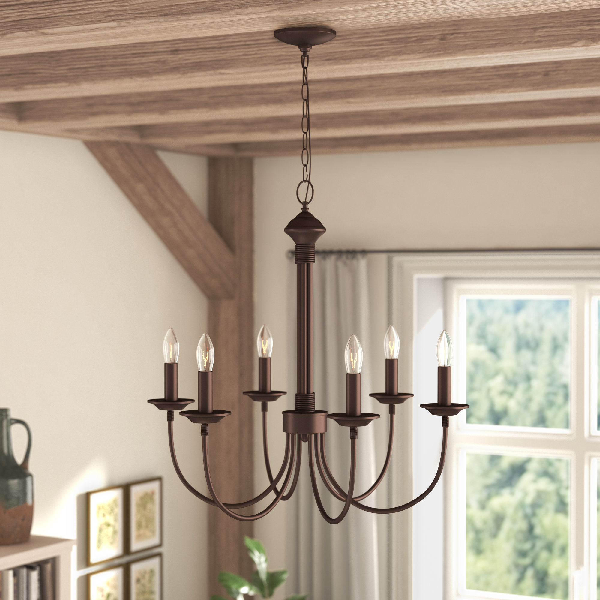 Laurel Foundry Modern Farmhouse Shaylee 6 Light Candle Style Chandelier Pertaining To Most Recently Released Shaylee 6 Light Candle Style Chandeliers (View 6 of 25)