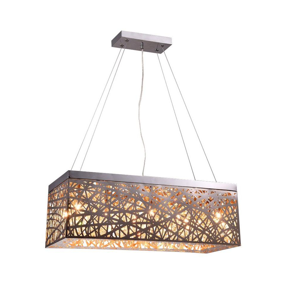 Layla 8 Light Chrome Indoor Crystal Rectangular Pendant Inside Well Known Gracelyn 8 Light Kitchen Island Pendants (View 17 of 25)