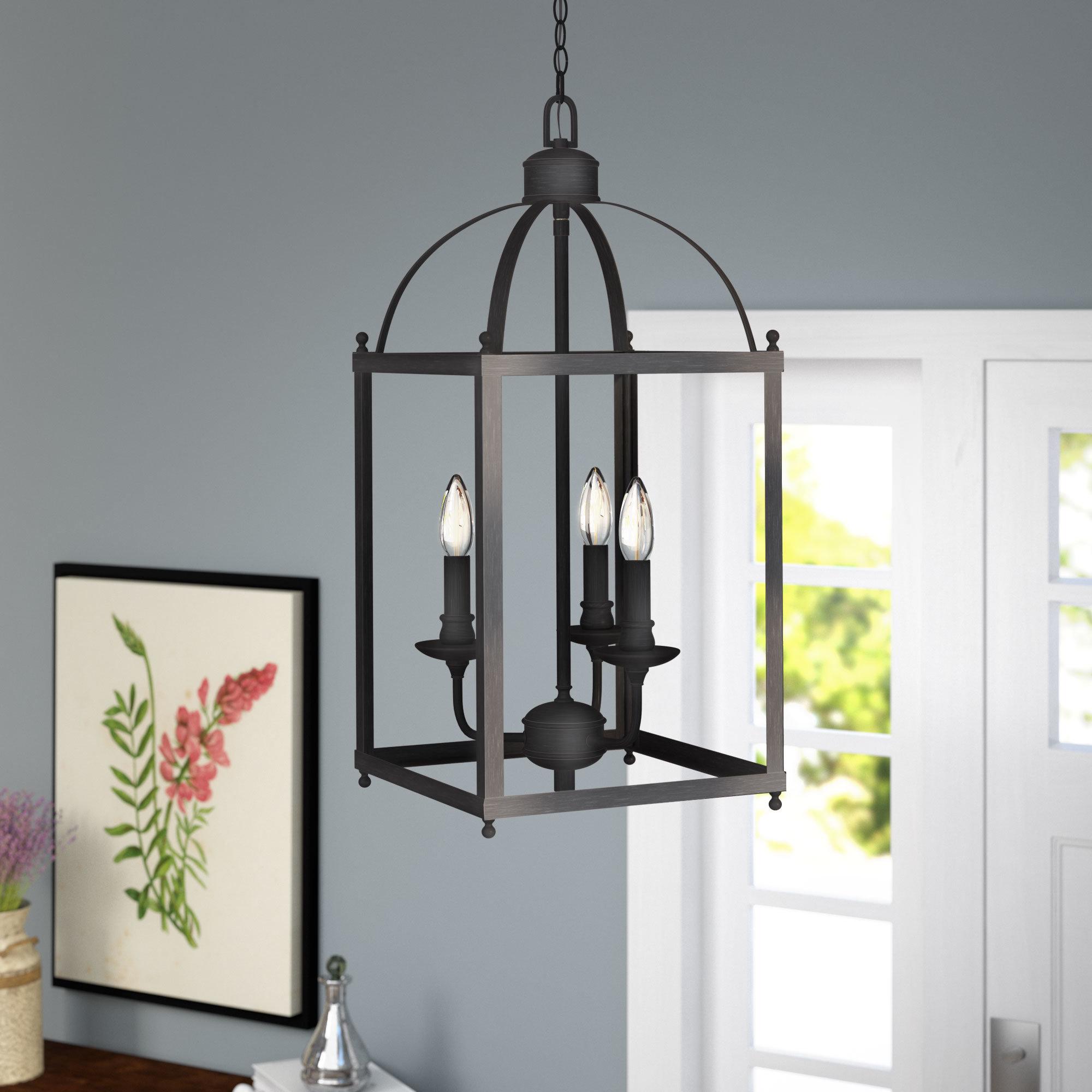 Leiters 3 Light Lantern Geometric Pendants Intended For Fashionable Cleona Modern 3 Light Foyer Pendant (View 13 of 25)