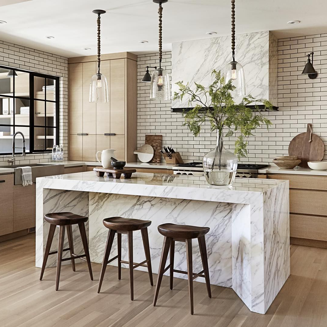 Light Wood, White Range Hood, Wood Cabinets Marble Island Within Most Up To Date Schutt 4 Light Kitchen Island Pendants (View 22 of 25)