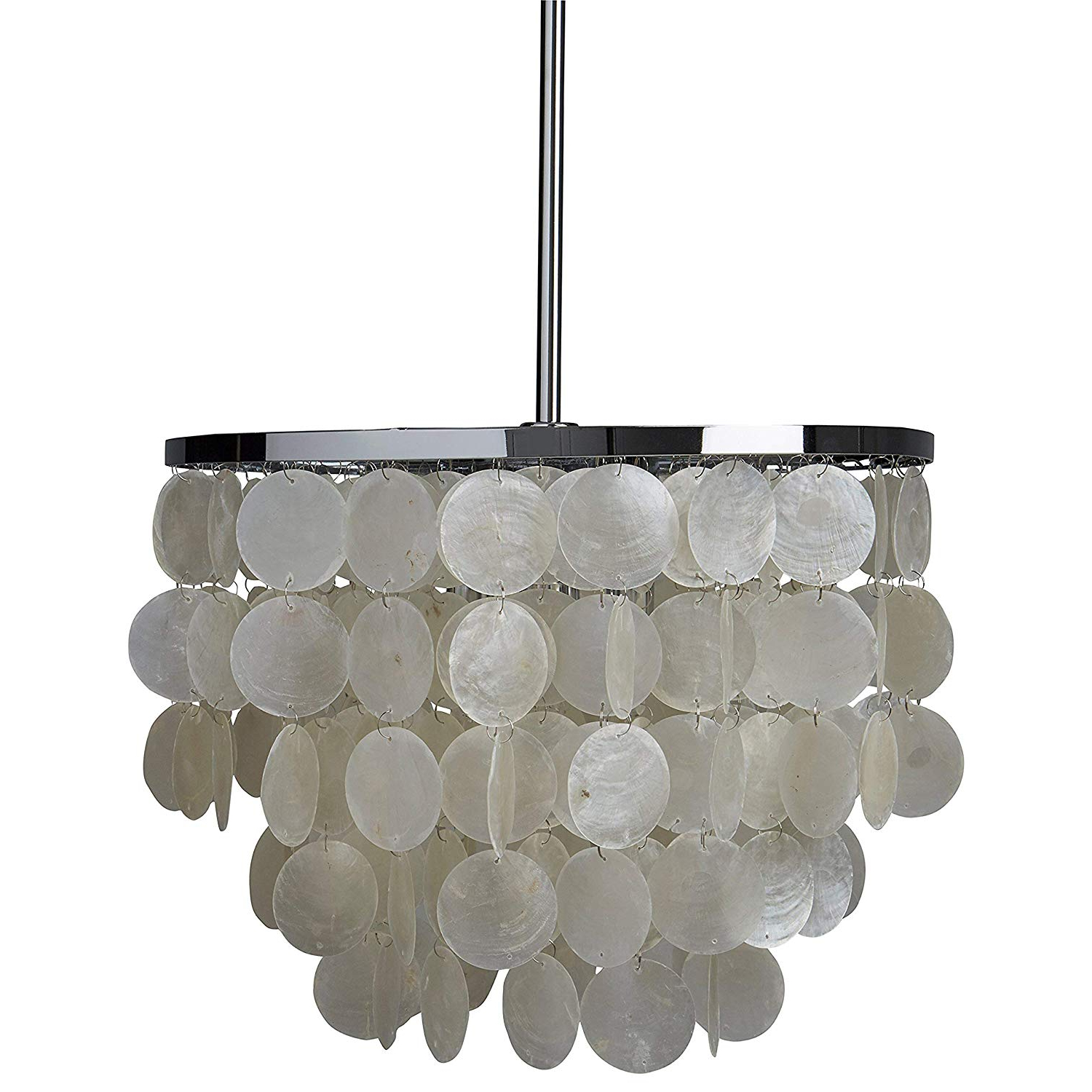 "Lindsey 4 Light Drum Chandeliers With Popular Rivet Capiz Shell Chandelier With Bulbs, 19.5"" To  (View 18 of 25)"