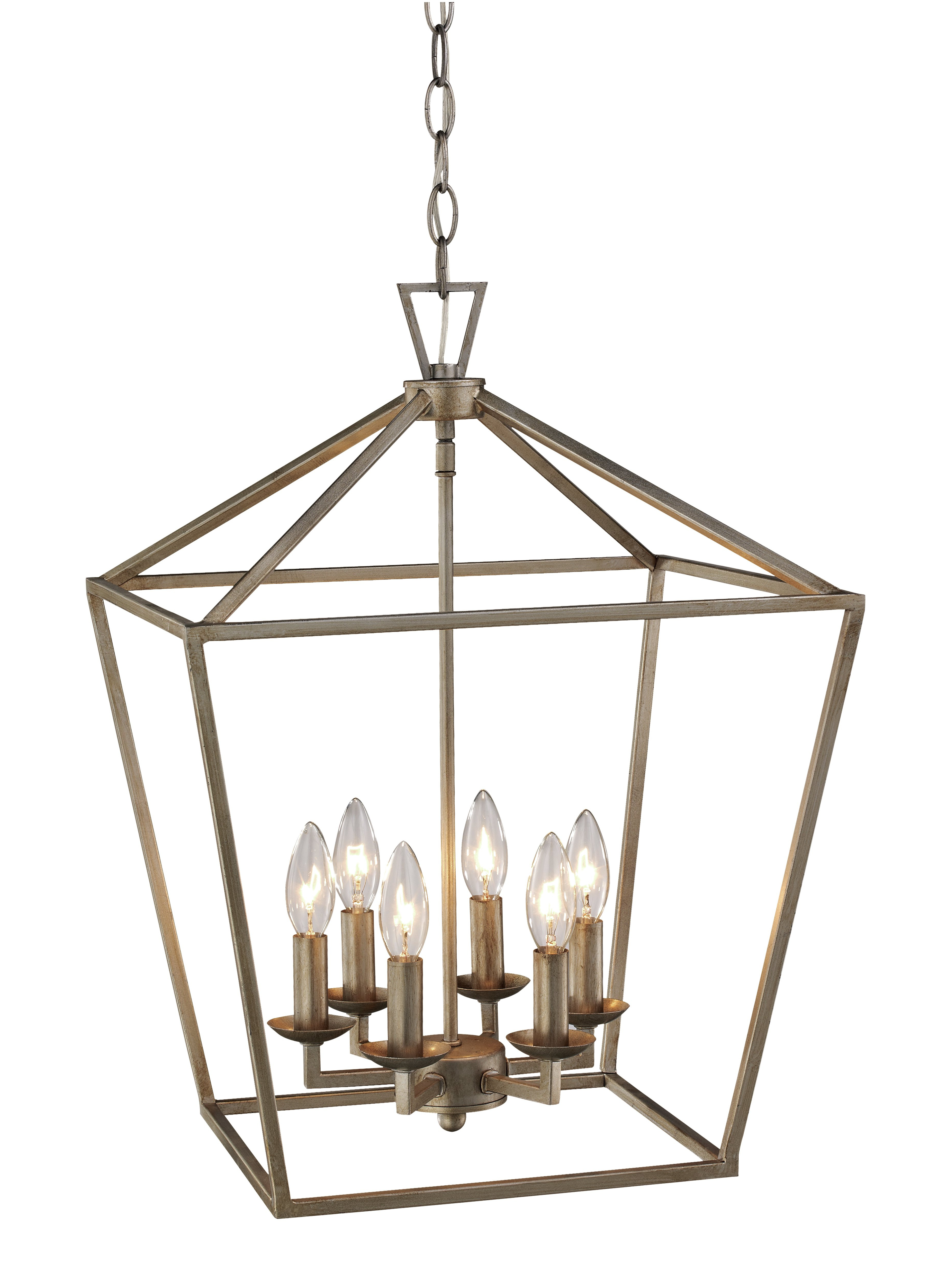 Louanne 1 Light Lantern Geometric Pendants In Well Known Laurel Foundry Modern Farmhouse Carmen 6 Light Lantern Geometric Pendant (View 18 of 25)