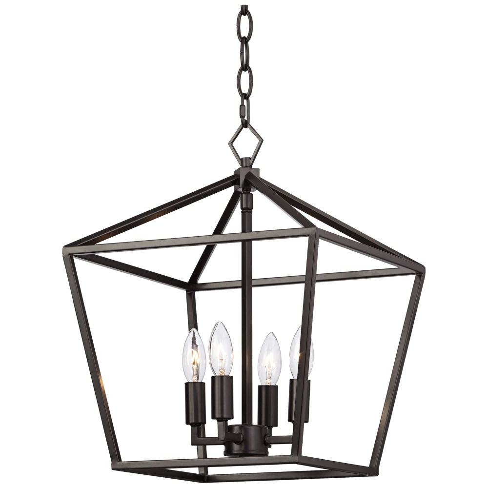 "Louanne 1 Light Lantern Geometric Pendants Intended For Most Current Queluz 13"" Wide Bronze 4 Light Entry Pendant Light – Style (View 12 of 25)"
