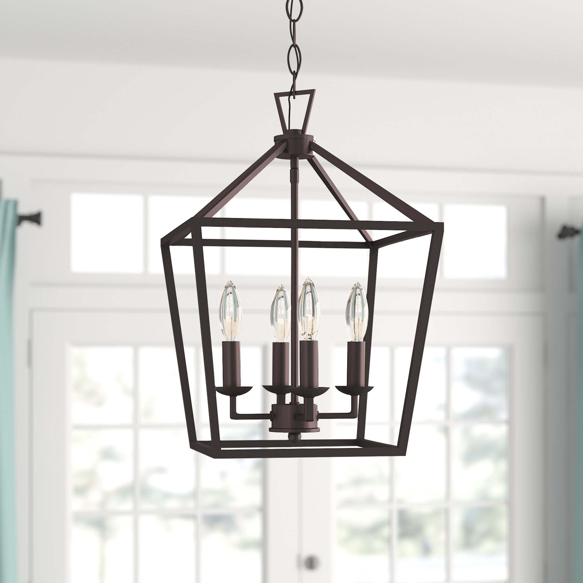 Louanne 1 Light Lantern Geometric Pendants Pertaining To 2019 Carmen 4 Light Lantern Geometric Pendant (View 7 of 25)