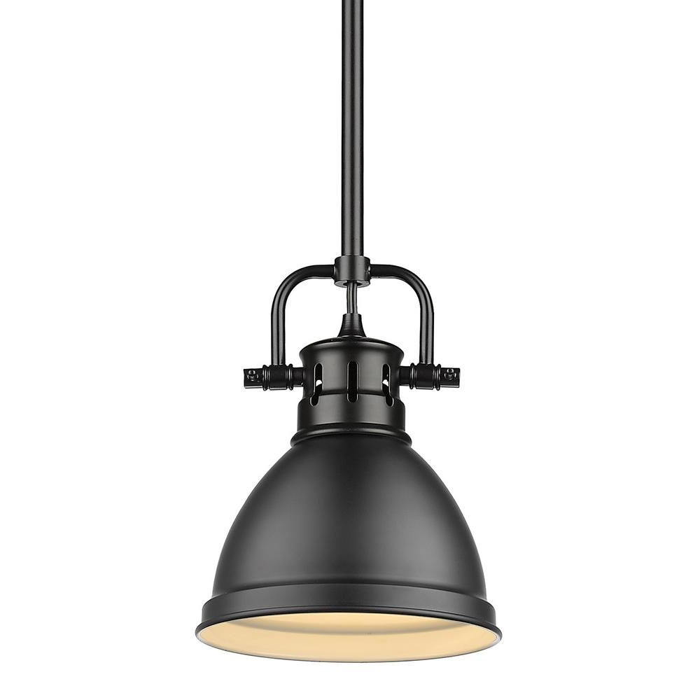 Louanne 1 Light Lantern Geometric Pendants With Regard To Current Golden Lighting Duncan 1 Light Black Mini Pendant And Rod (View 19 of 25)