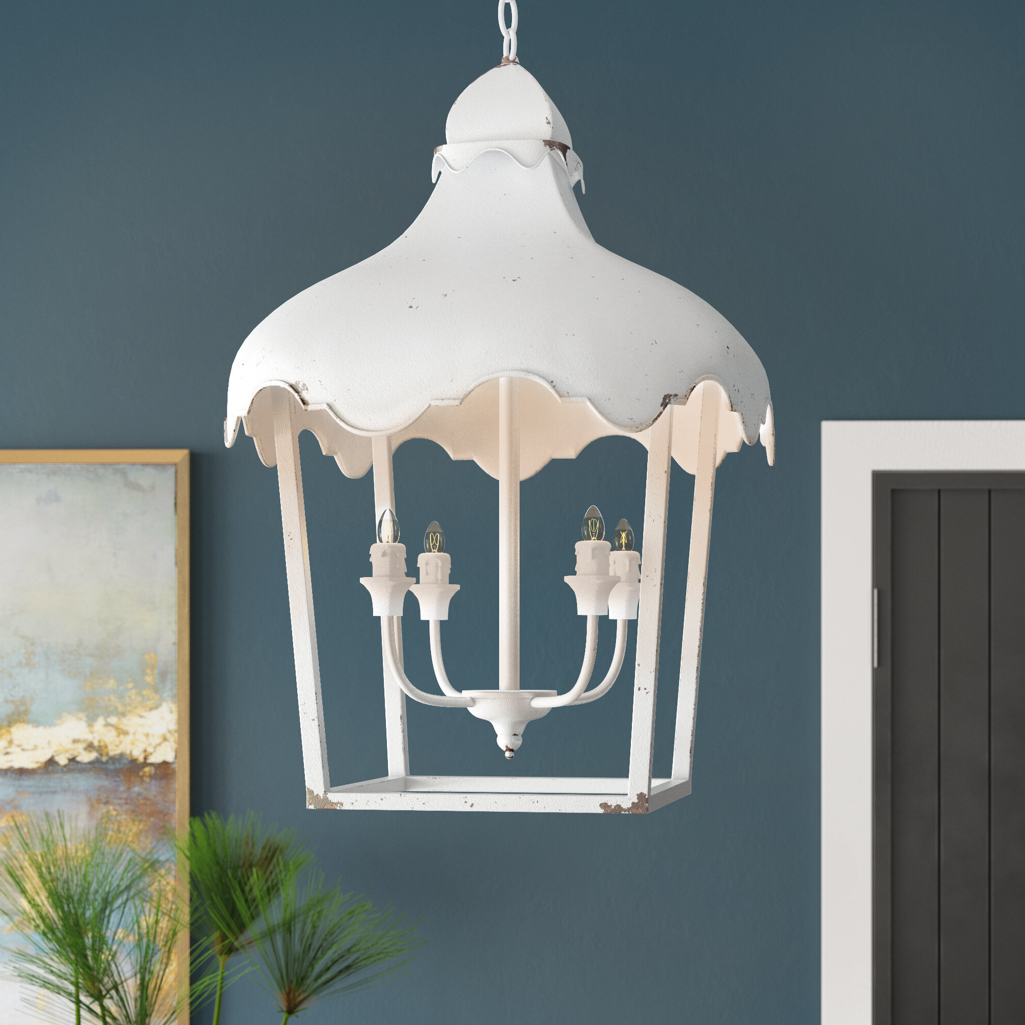 Lussan 4 Light Lantern Geometric Pendant Within Favorite Isoline 2 Light Lantern Geometric Pendants (View 11 of 25)