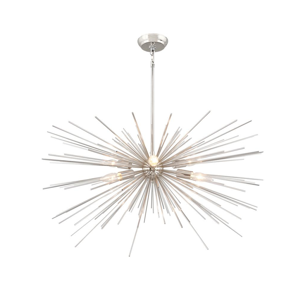 Lyon 3 Light Unique / Statement Chandeliers For Well Liked 6 Light Nickel Assembled Sputnik Chandelier (View 19 of 25)