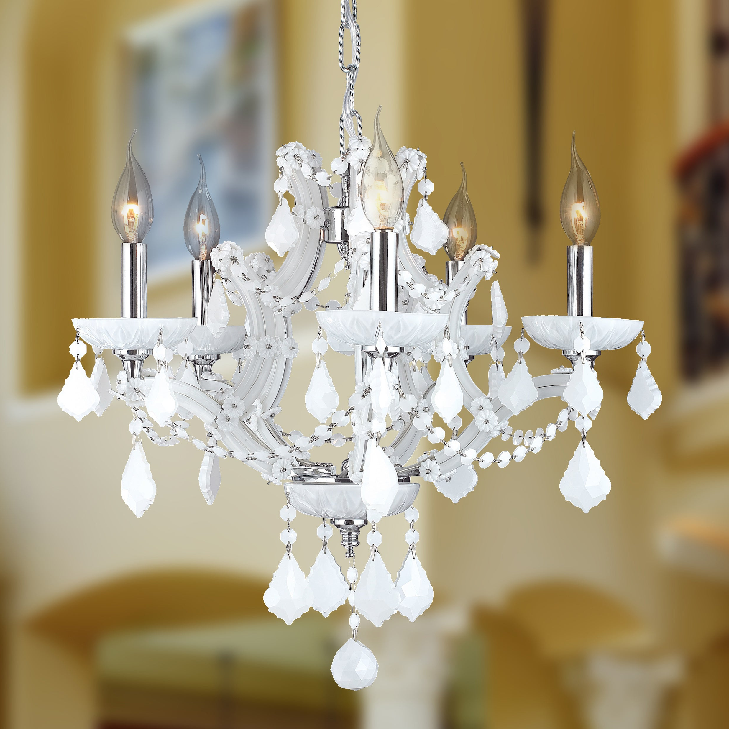 """Maria Theresa 5 Light Chrome Finish And White Crystal Chandelier 19"""" X 18""""  Medium Inside Most Recent Thresa 5 Light Shaded Chandeliers (View 13 of 25)"""
