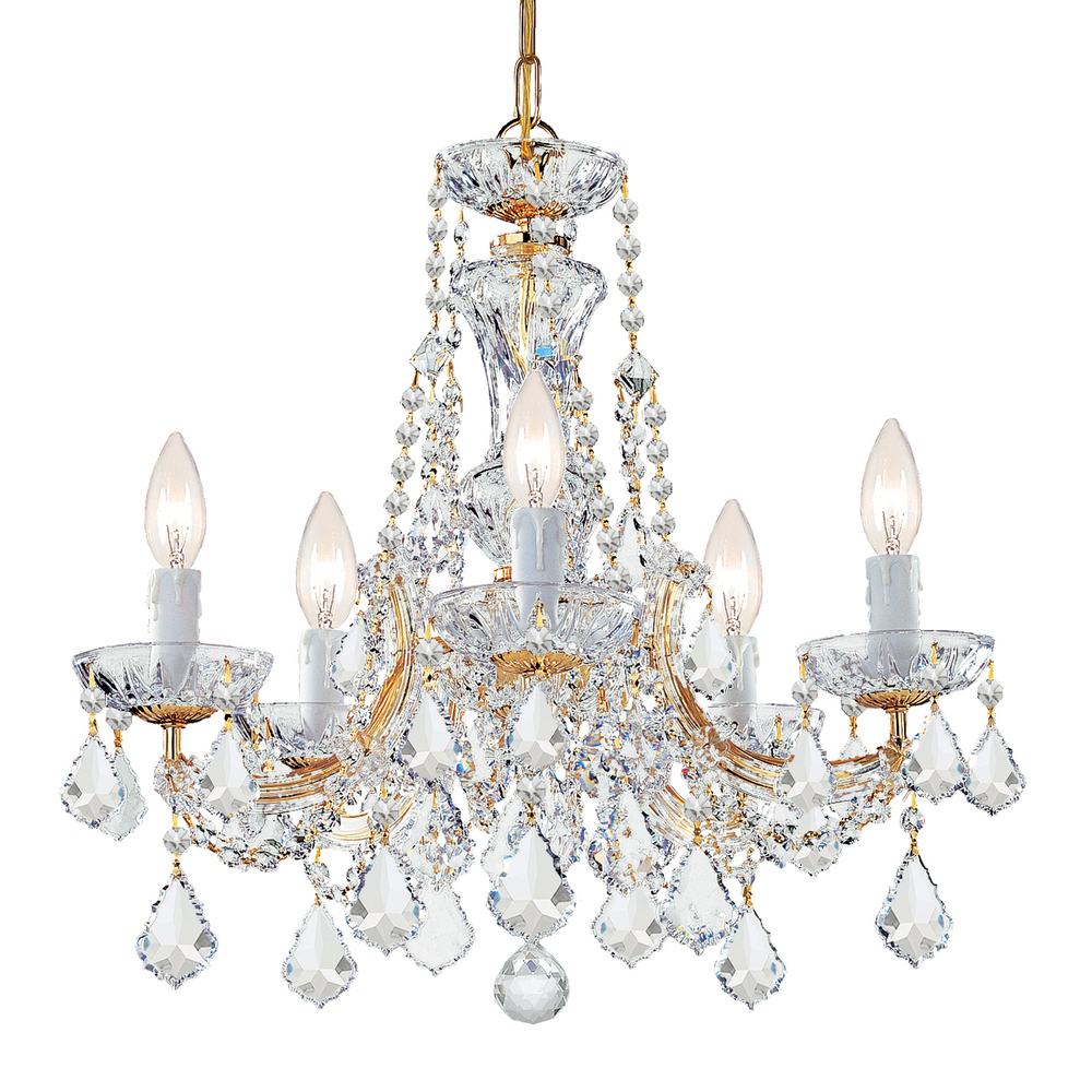 Maria Theresa 5 Light Clear Crystal Gold Mini Chandelier In Well Liked Thresa 5 Light Shaded Chandeliers (View 19 of 25)