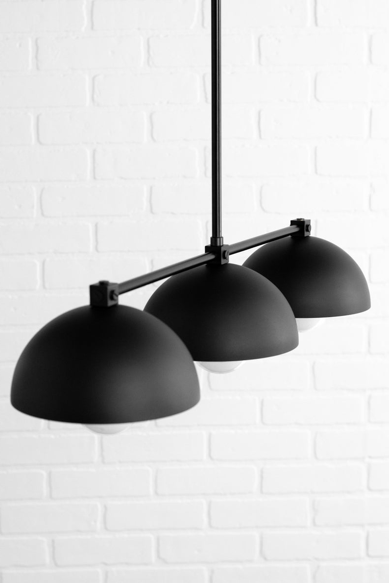 Martinique 3 Light Kitchen Island Dome Pendants Regarding Well Liked Industrial Black Dome – Three Shade Pendant Light – Kitchen Lighting – Long  Hanging Light – Island Lighting – Chandelier Lighting (View 24 of 25)