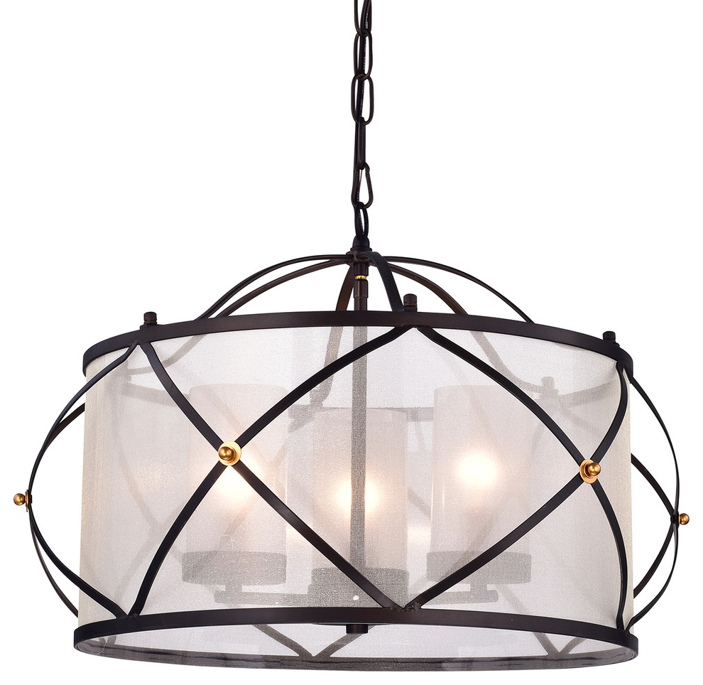 Merga 3 Light Oil Rubbed Bronze Wrought Iron Drum Ivory White Shade  Chandelier With Widely Used Kenedy 9 Light Candle Style Chandeliers (View 16 of 25)