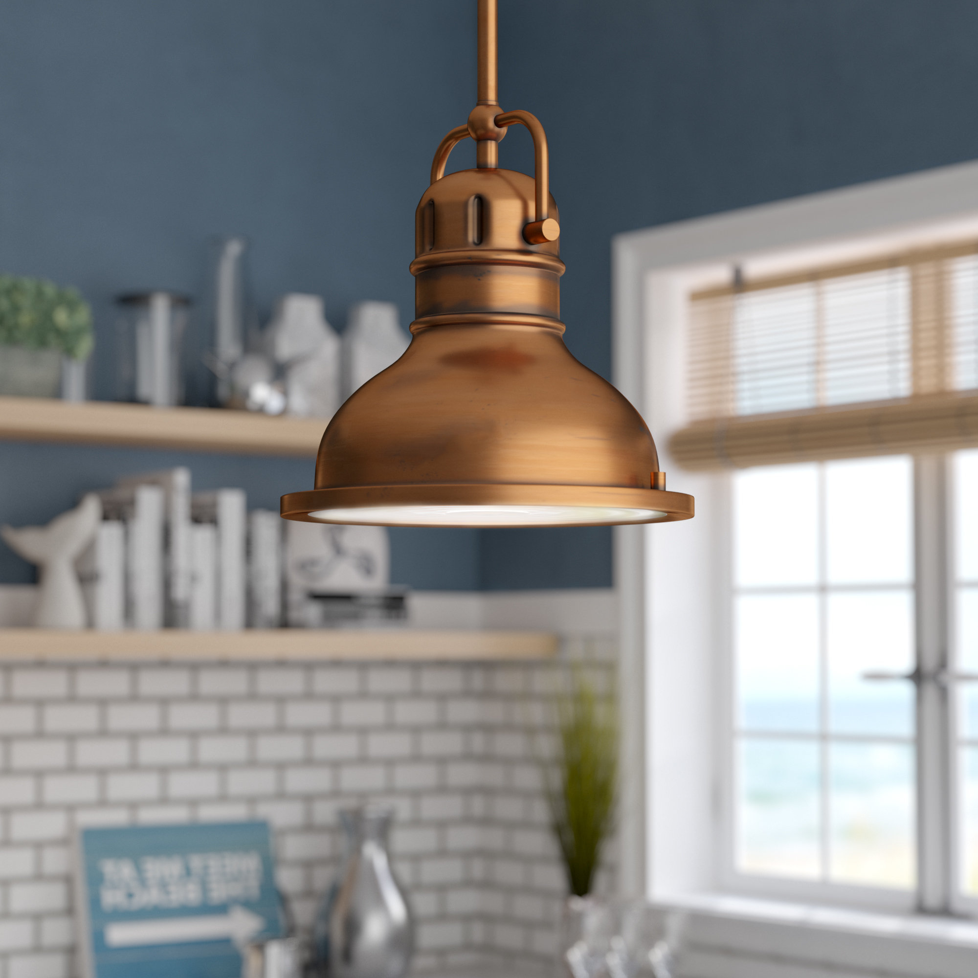 Merrick 1 Light Dome Pendant With Widely Used Mueller 1 Light Single Dome Pendants (View 13 of 25)
