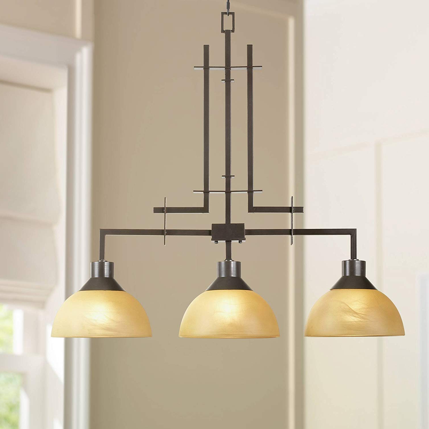 "Metro Collection 33 3/4"" Wide Three Light Island Chandelier – Franklin Iron  Works Within Fashionable Lynn 6 Light Geometric Chandeliers (View 17 of 25)"