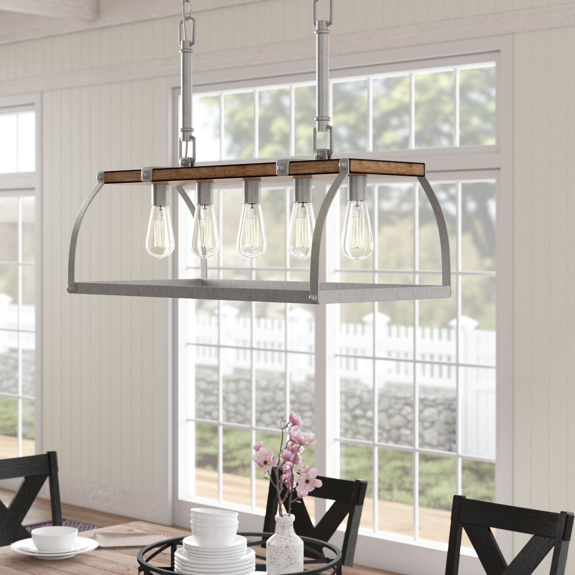 Milla 5 Light Rectangle Chandelier Within Fashionable Ellenton 4 Light Rectangle Chandeliers (View 13 of 25)