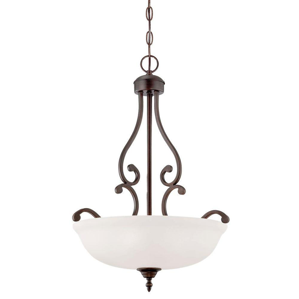 Millennium Lighting 3 Light Rubbed Bronze Pendant With Etched White Glass In Most Current Gabriella 3 Light Lantern Chandeliers (View 18 of 25)