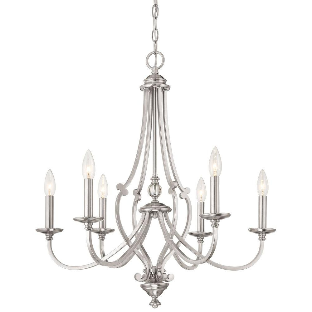 Minka Lavery Savannah Row 6 Light Brushed Nickel Chandelier Pertaining To Preferred Diaz 6 Light Candle Style Chandeliers (View 15 of 25)