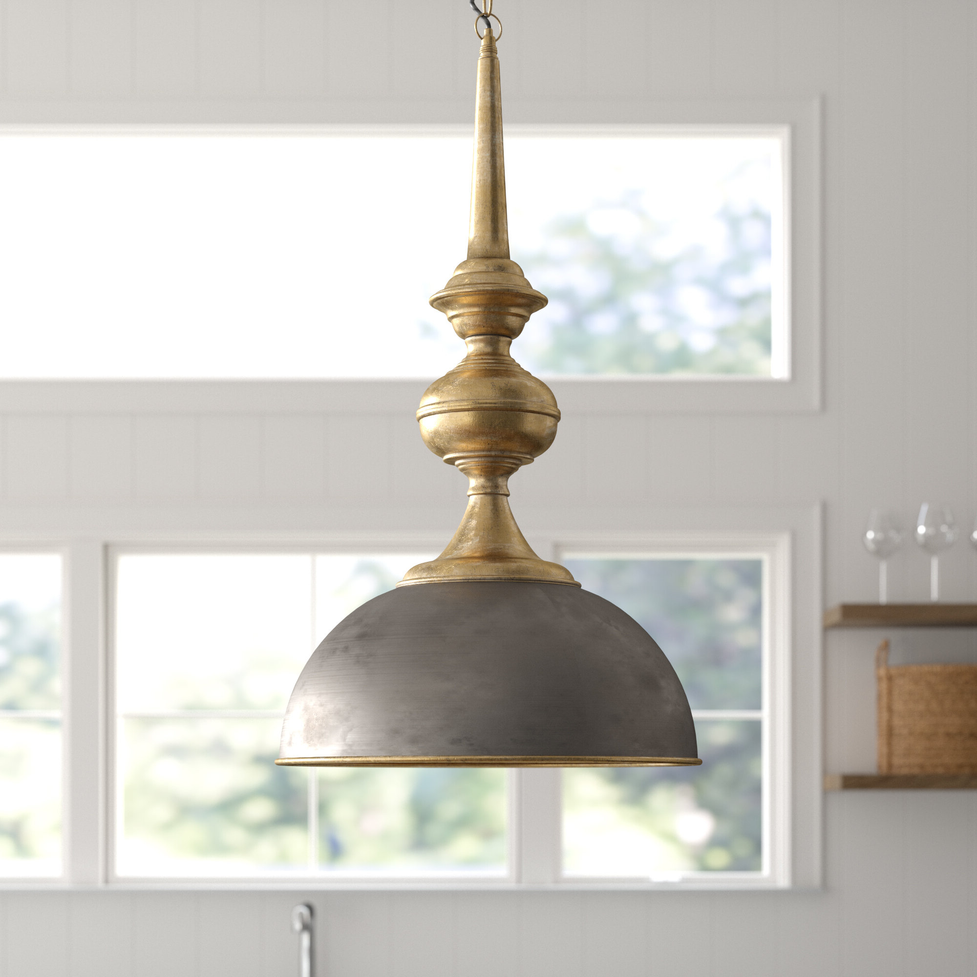 Mistana Corrine 1 Light Single Dome Pendant Throughout Fashionable Abordale 1 Light Single Dome Pendants (View 14 of 25)