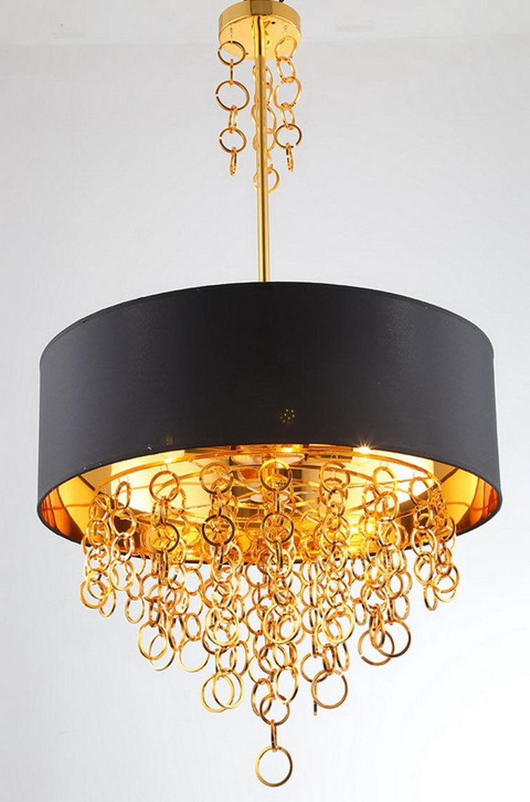 Modern Chandeliers With Black Drum Shade Pendant Light Gold Rings Drops In  Round Ceiling Light Fixture Pertaining To 2019 Vincent 5 Light Drum Chandeliers (View 15 of 25)