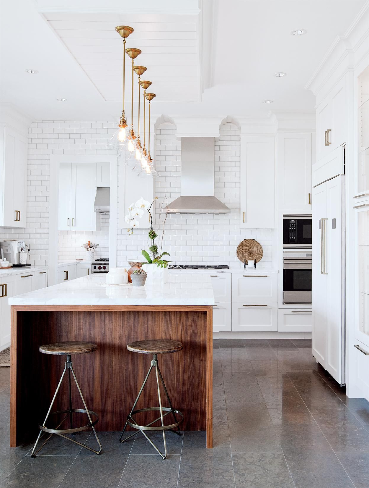 Modern Kitchen With A Wood Island, And Retro Bronze Pendant With Regard To Well Known Schutt 4 Light Kitchen Island Pendants (View 25 of 25)