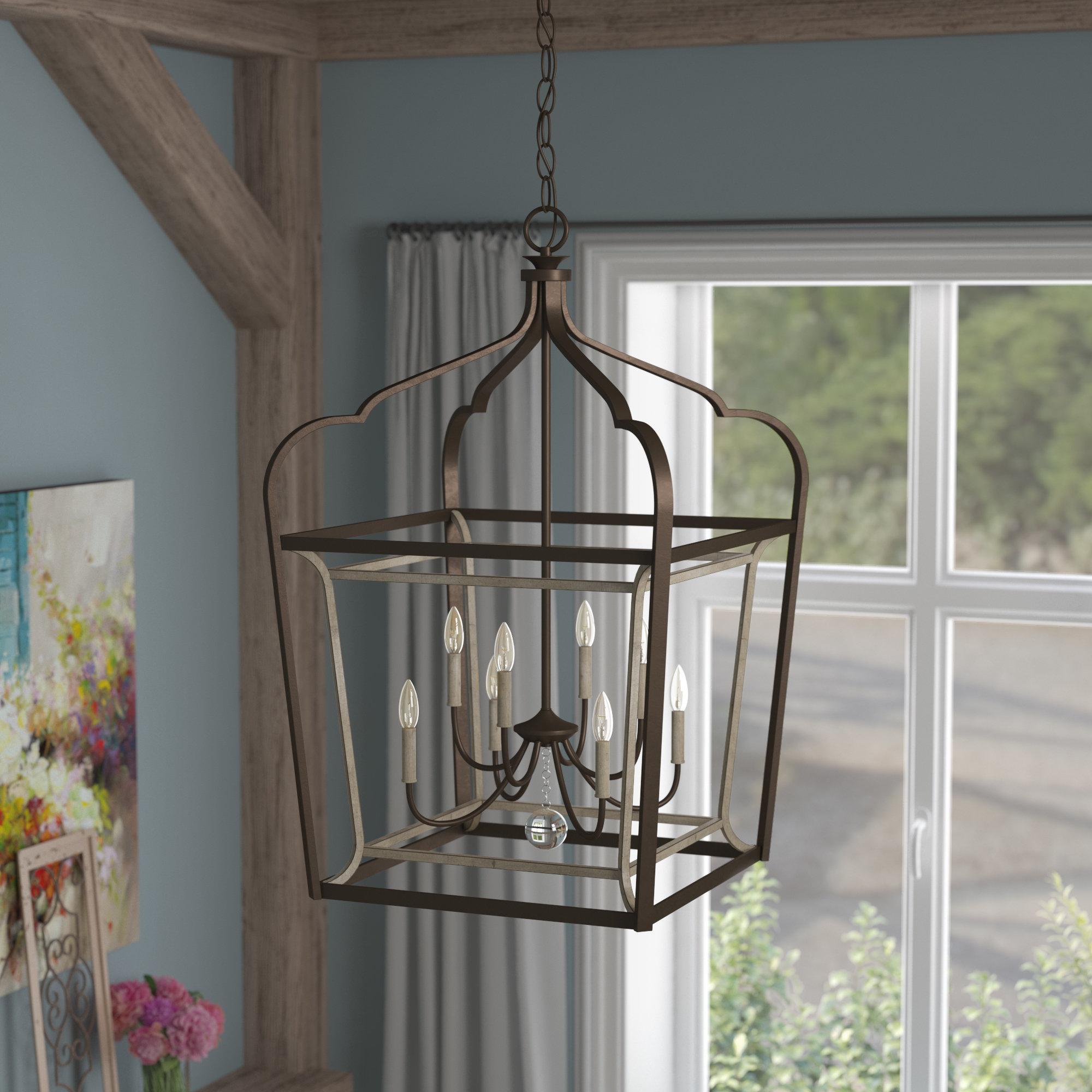 Most Current Carmen 8 Light Lantern Tiered Pendants Intended For Evangeline 8 Light Lantern Geometric Pendant (View 15 of 25)