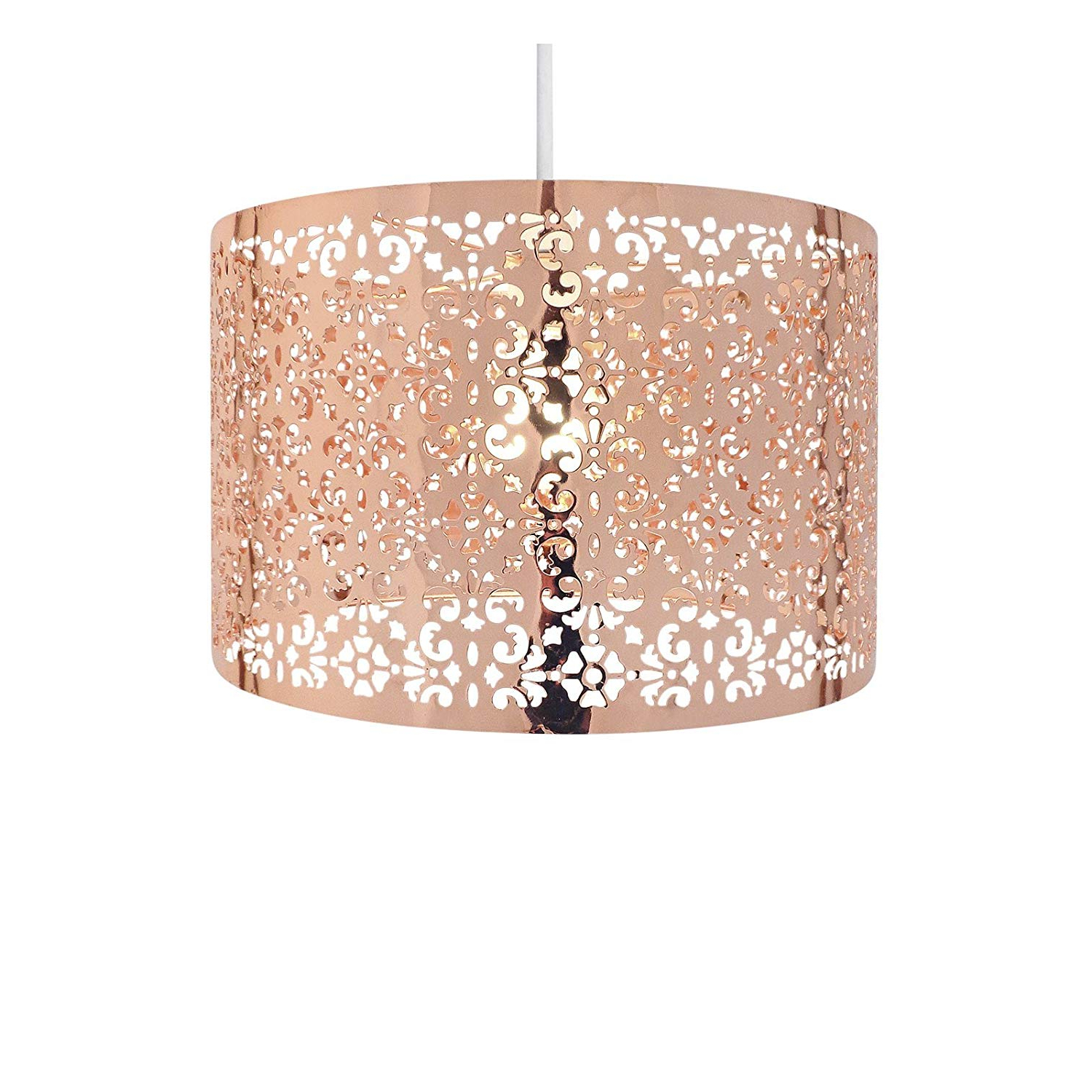 Most Current Country Club 12397556 Large Round Drum Light Shade With Cut Out Pattern Copper 29Cm With Regard To Suki 5 Light Shaded Chandeliers (View 23 of 25)