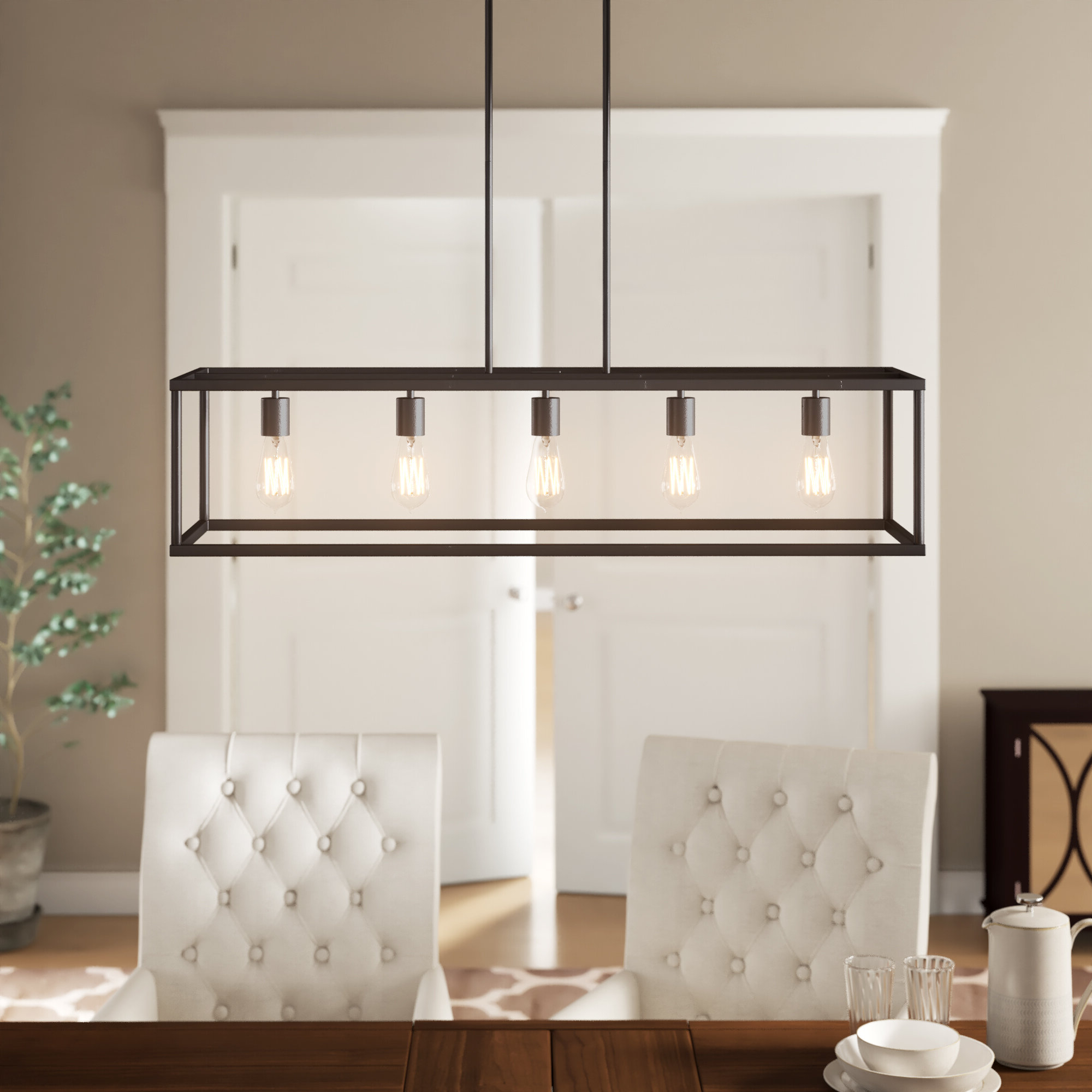 Most Current Freemont 5 Light Kitchen Island Linear Chandeliers Pertaining To Cassie 5 Light Kitchen Island Linear Pendant (View 21 of 25)