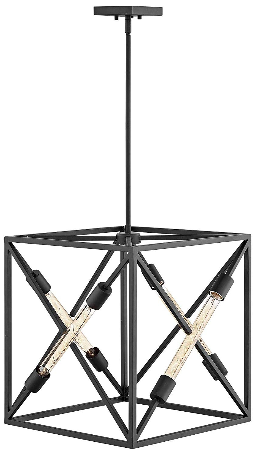 "Most Current Hinkley Hewitt 18"" Wide Satin Black 4 Light Pendant Throughout Hewitt 4 Light Square Chandeliers (View 7 of 25)"