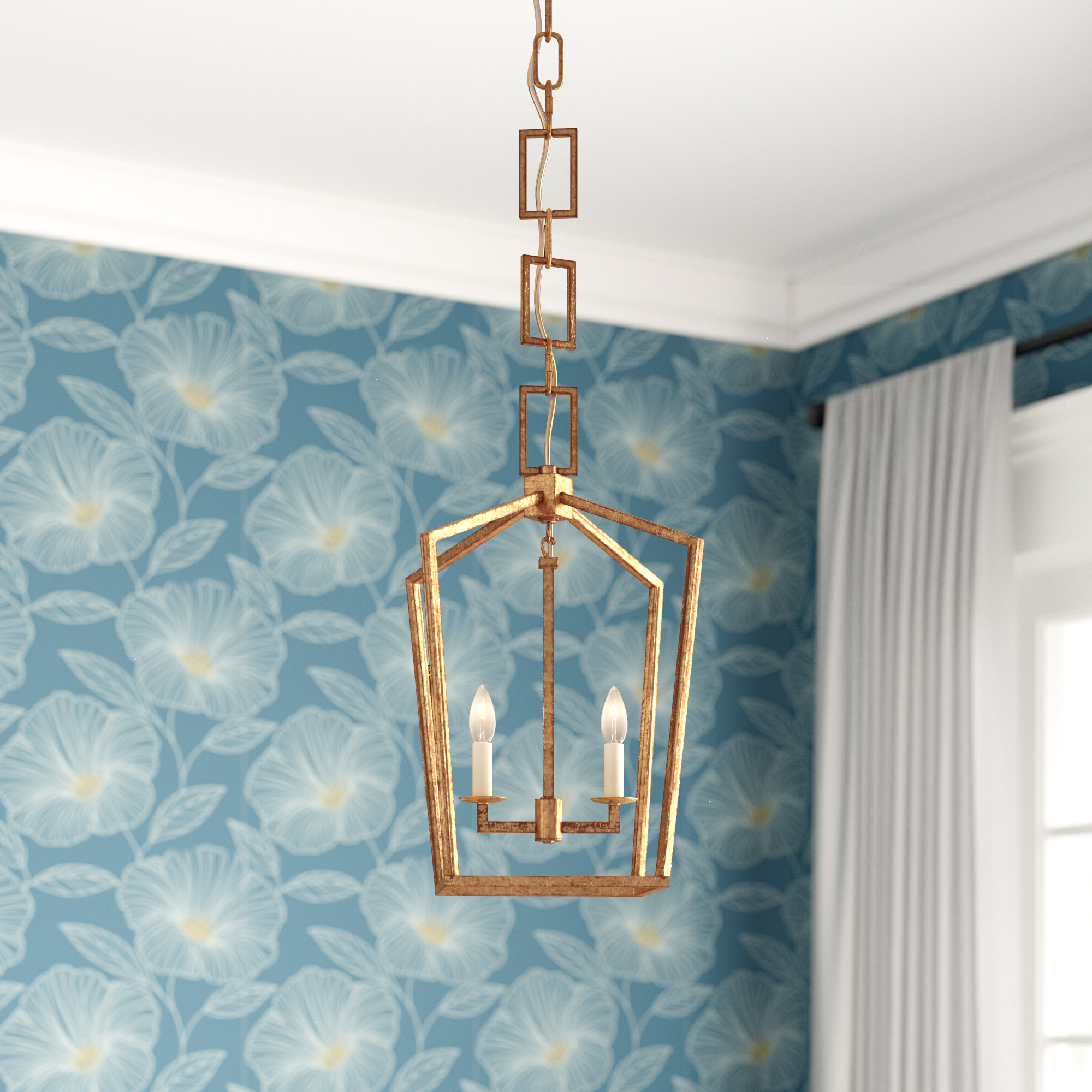 Most Current Isoline 2 Light Lantern Geometric Pendants Pertaining To Everly Quinn Isoline 2 Light Geometric Pendant (View 17 of 25)