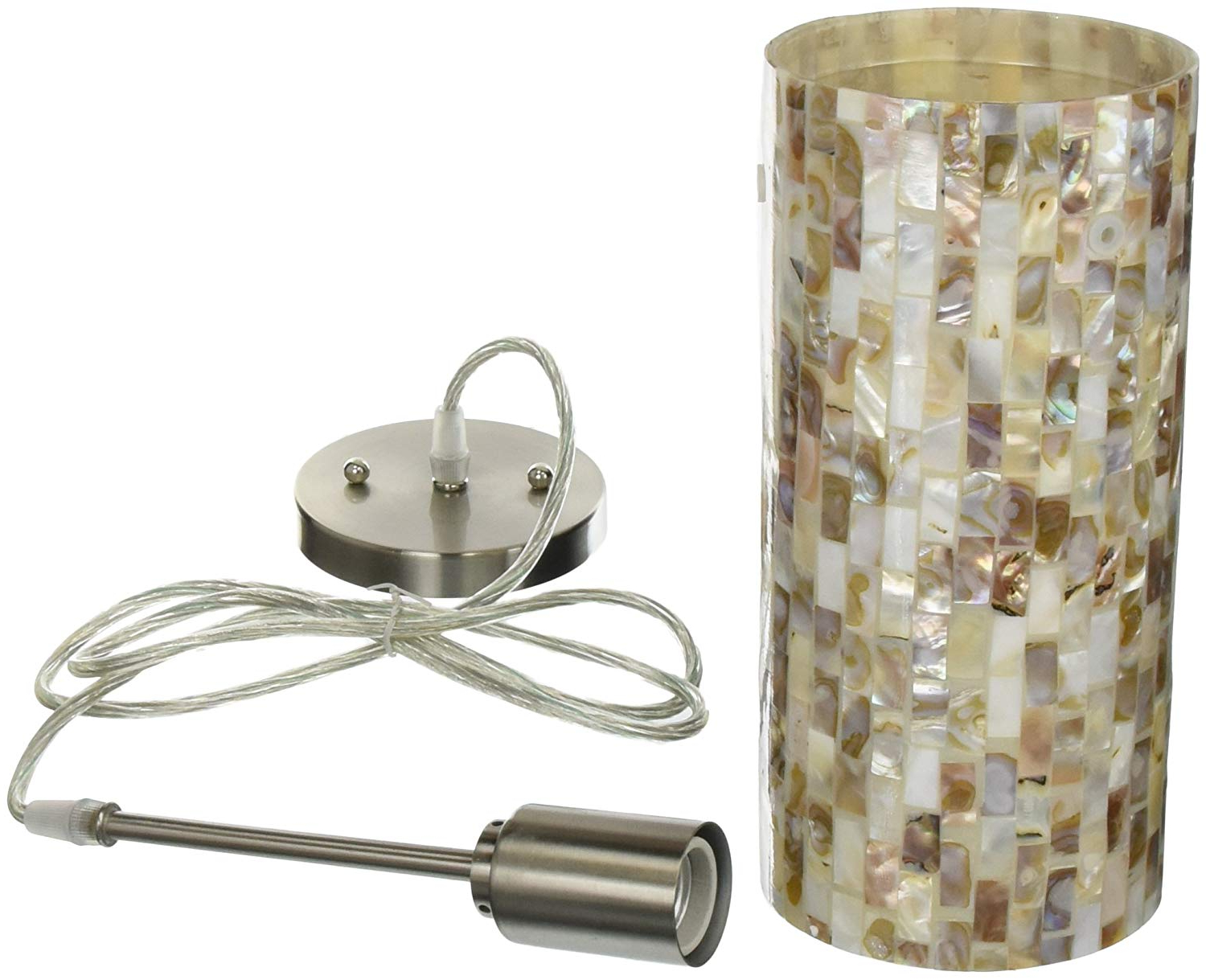 Most Current Lite Source Inc Lite Source Ls 19381 Schale Pendant Lamp With Shell Shade,  Polished Steel, Within Kraker 1 Light Single Cylinder Pendants (View 25 of 25)