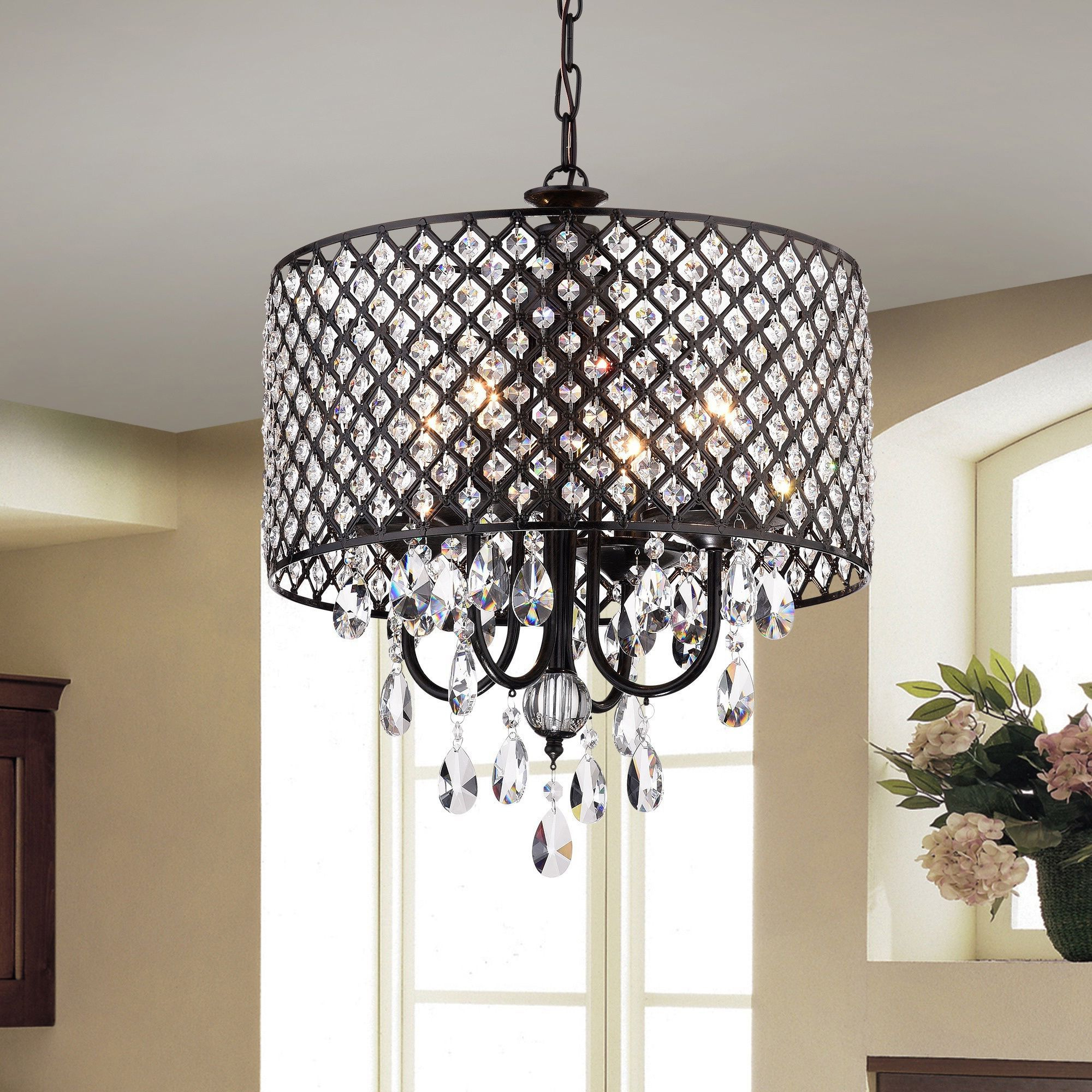 Most Current Monet 4 Lights Black Finished 17 Inch Crystal Round Inside Albano 4 Light Crystal Chandeliers (View 11 of 25)