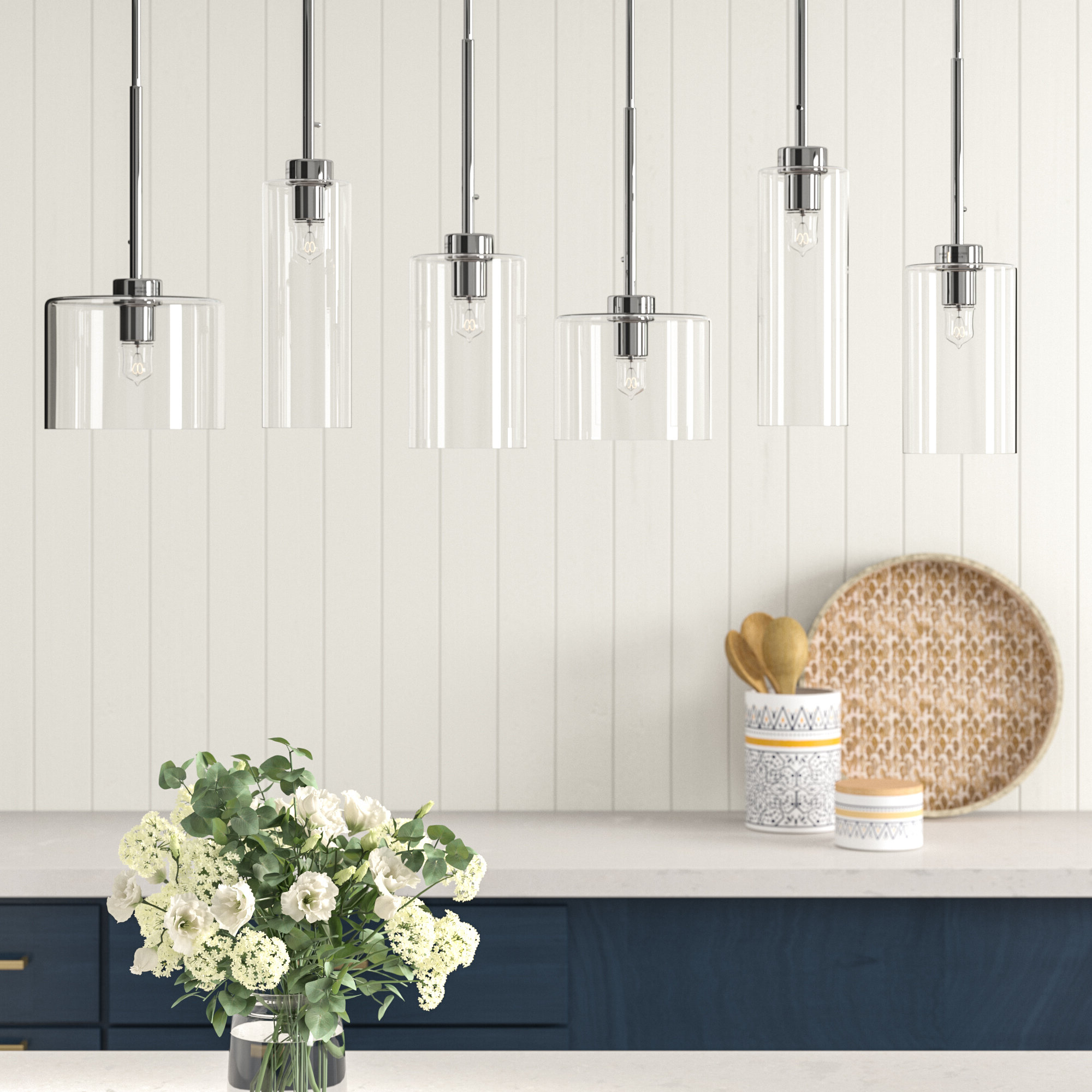 Most Current Siddharth 6 Light Kitchen Island Linear Pendant & Reviews Within Neal 5 Light Kitchen Island Teardrop Pendants (View 10 of 25)