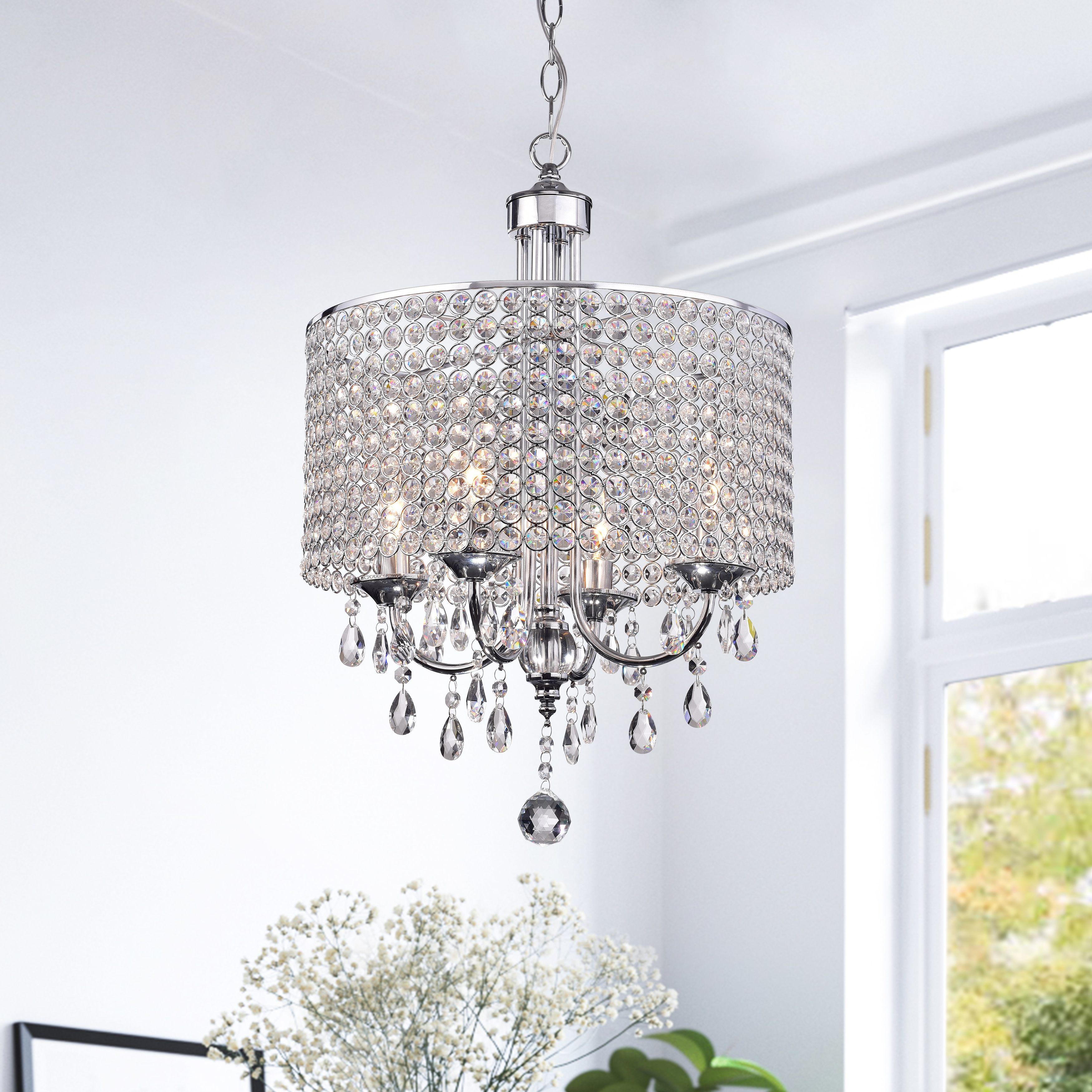 Most Current Silver Orchid Taylor 4 Light Chrome Finish Crystal Intended For Albano 4 Light Crystal Chandeliers (View 8 of 25)