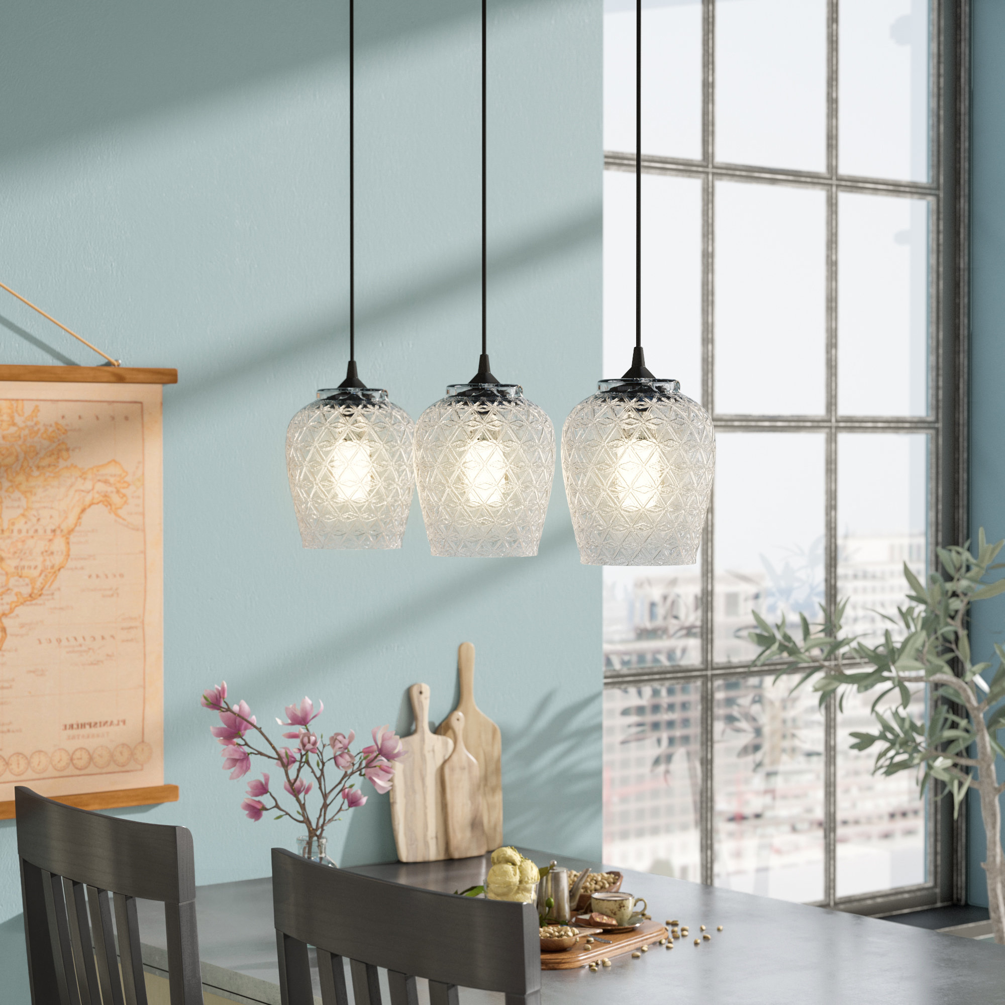 Most Current Vintage Filament Bulb Included Pendant Lighting Sale – Up To Within Schutt 4 Light Kitchen Island Pendants (View 14 of 25)