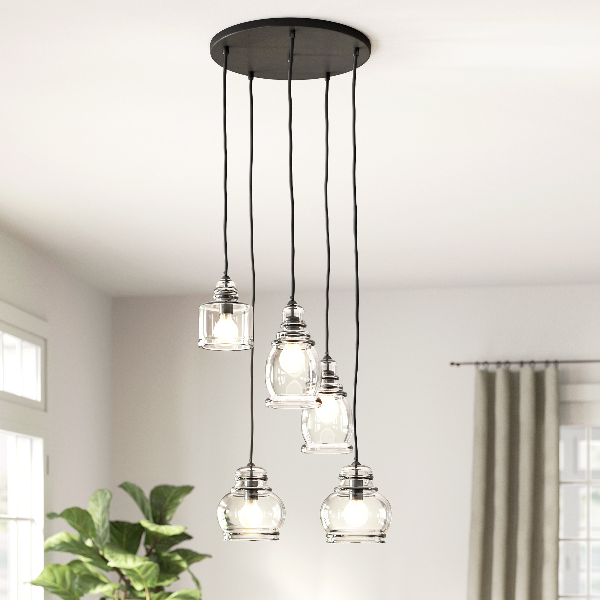 Most Popular 5 Light Cluster Bell Pendant With Ariel 2 Light Kitchen Island Dome Pendants (View 17 of 25)