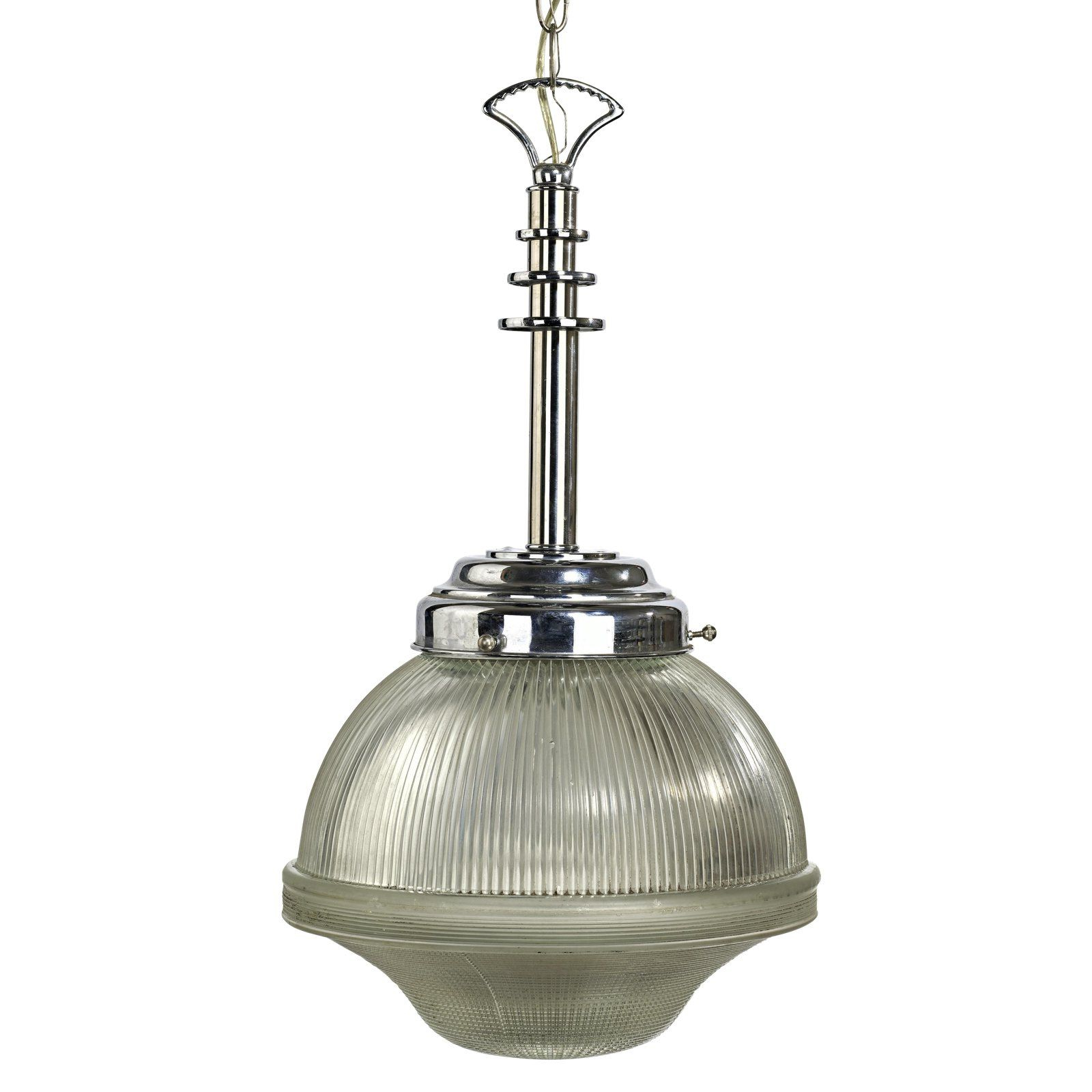 Most Popular Alayna 4 Light Shaded Chandeliers Within Mid Centur Modern Chrome Hallophane Street Light Glass Globe (View 17 of 25)