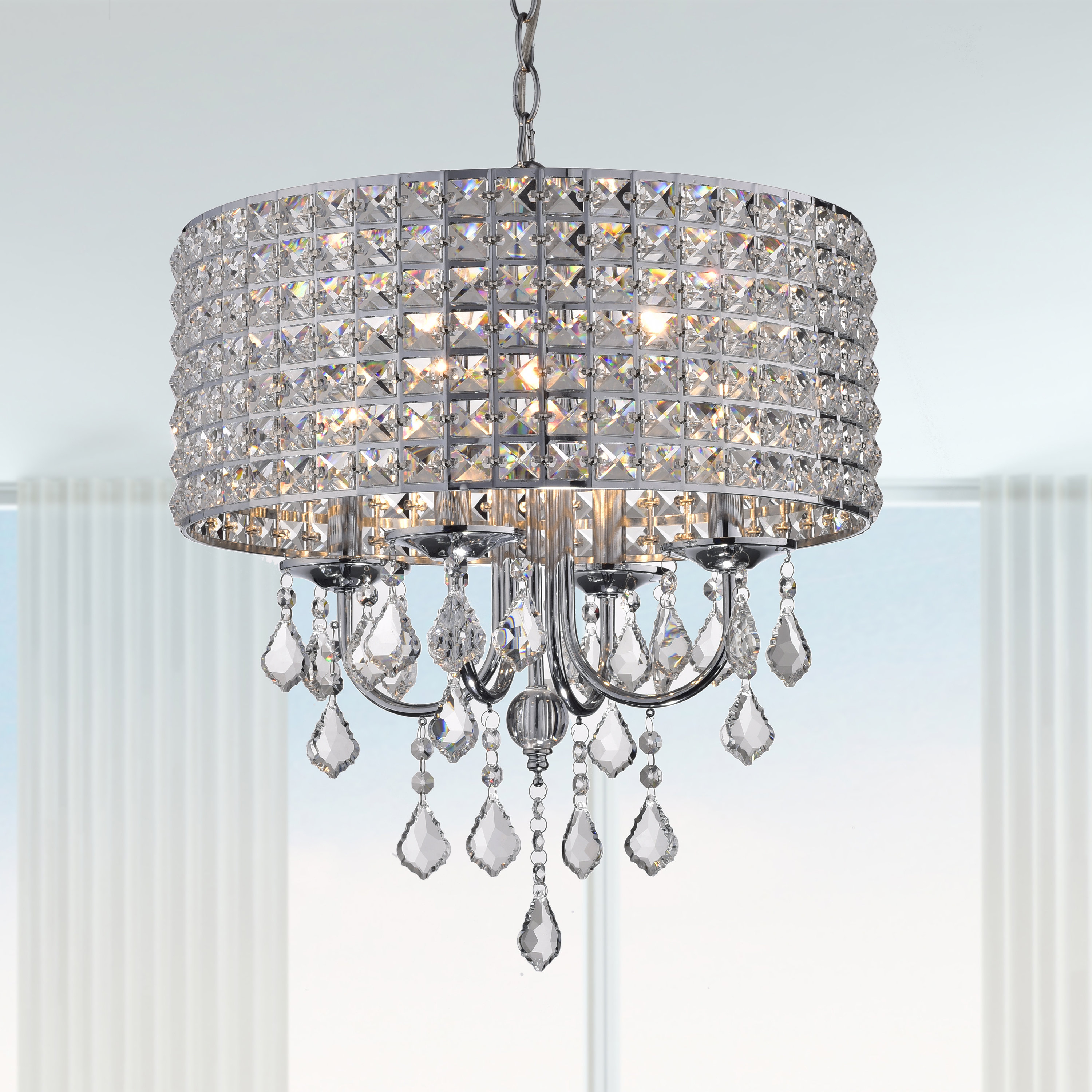 Most Popular Albano 4 Light Crystal Chandelier With Regard To Gisselle 4 Light Drum Chandeliers (View 16 of 25)