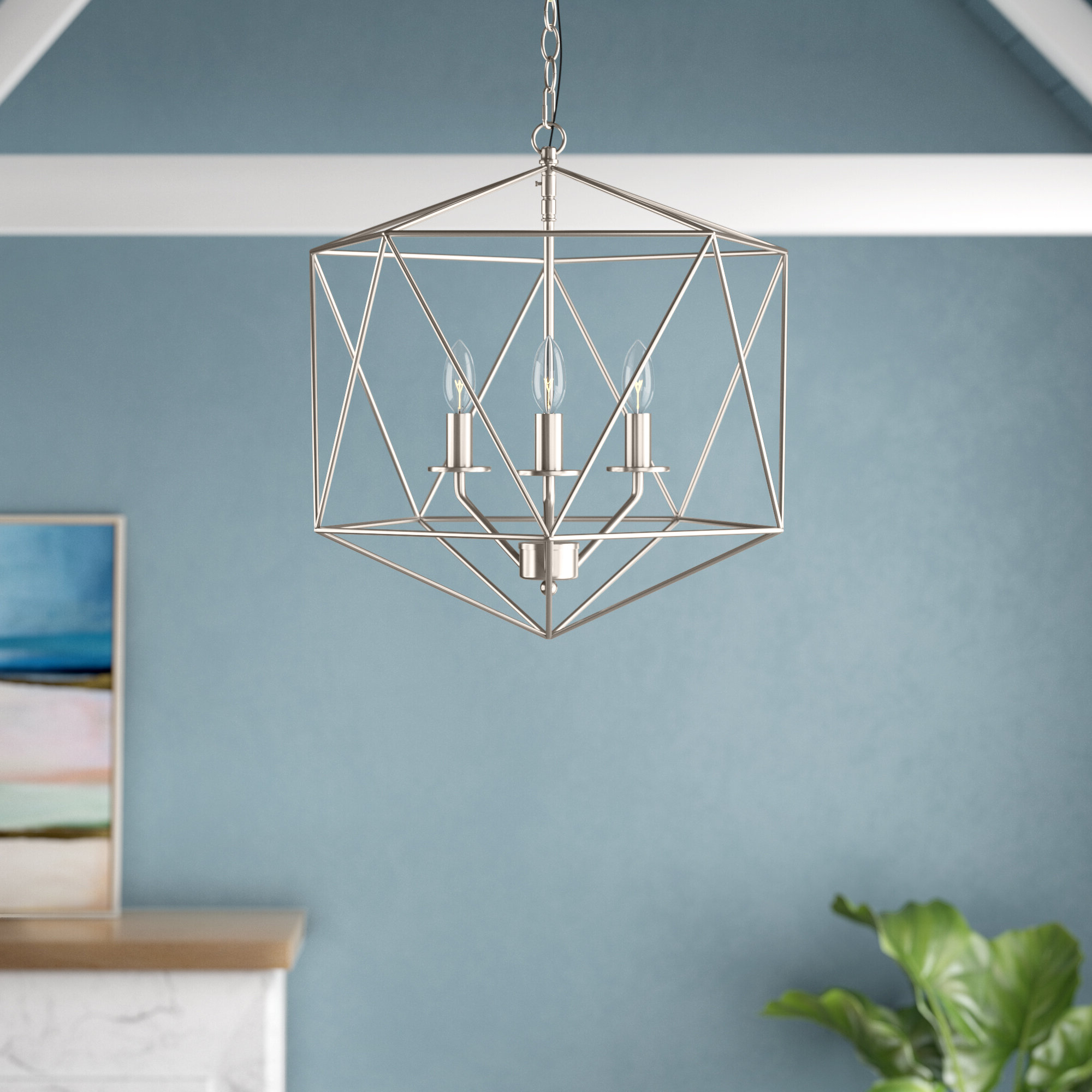 Most Popular Annuziata 3 Light Unique/statement Chandeliers With Regard To Todd 3 Light Geometric Chandelier (View 14 of 25)