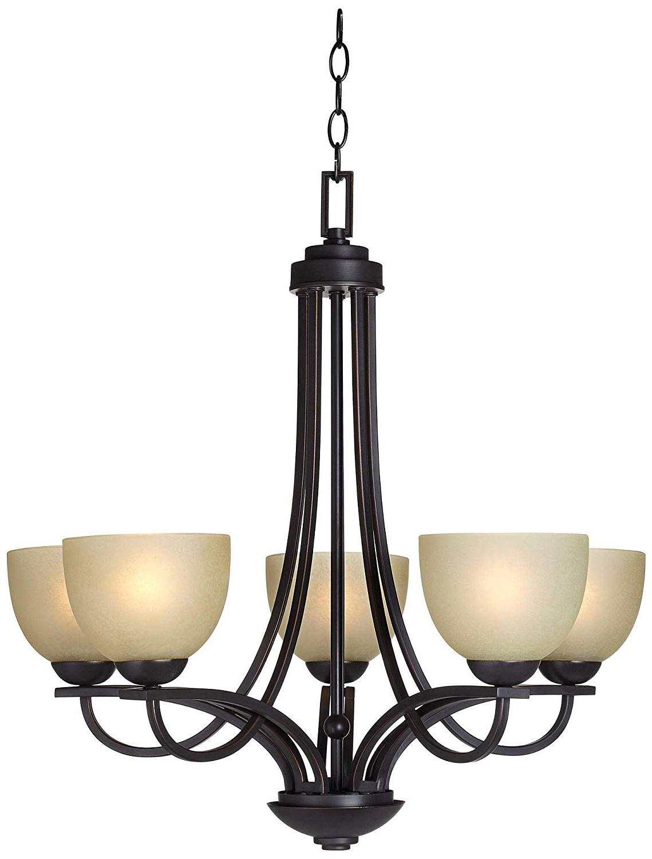 "Most Popular Bennington 6 Light Candle Style Chandeliers Inside Bennington 26"" Wide 5 Light Italian Bronze Chandelier – Franklin Iron Works (View 16 of 25)"