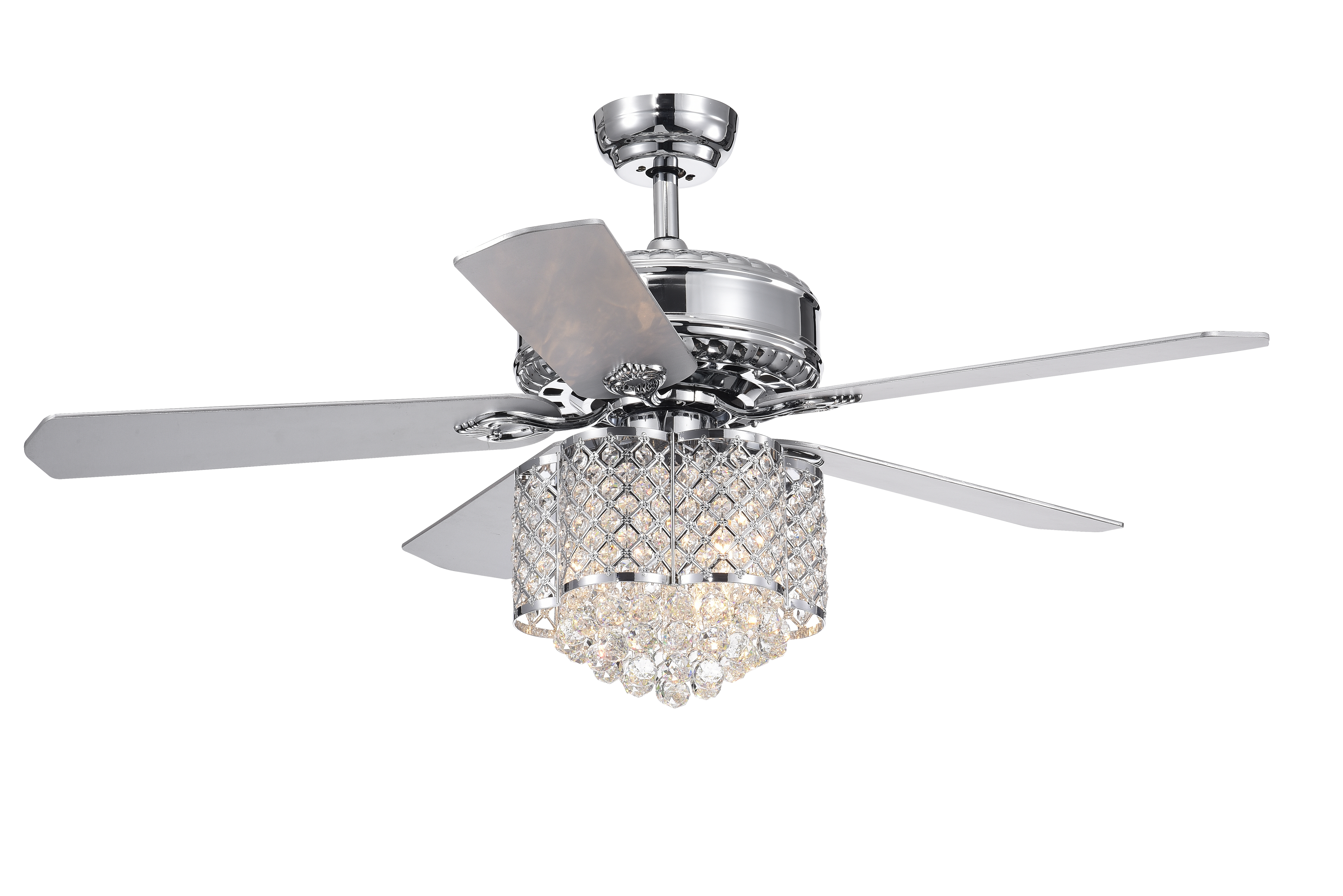 Most Popular Clea 3 Light Crystal Chandeliers Throughout Deidor 5 Blade 52 Inch Chrome Ceiling Fan With 3 Light Crystal Chandelier  (Remote Controlled) (View 24 of 25)