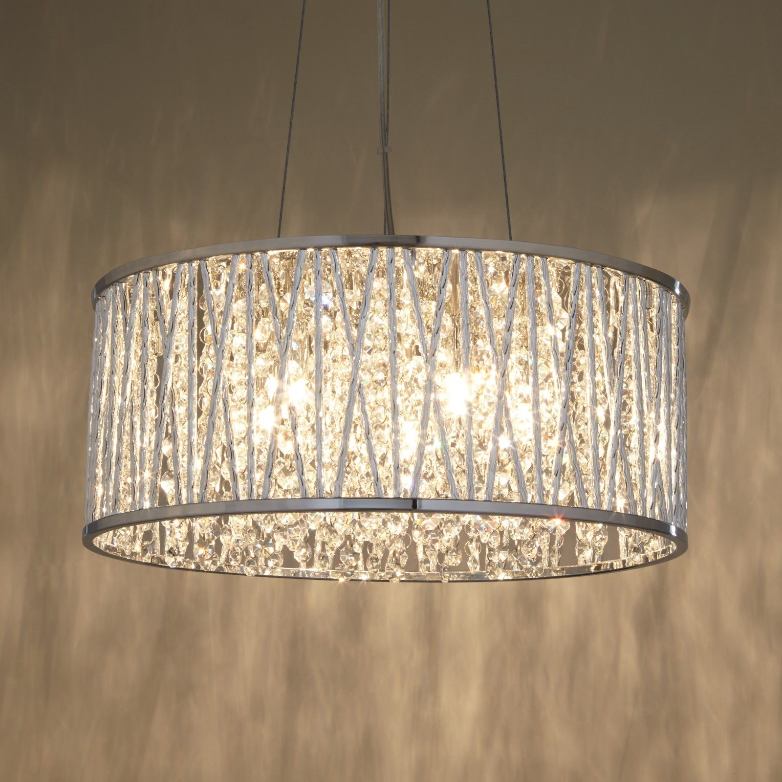 Most Popular Emaria 3 Light Single Drum Pendants In John Lewis & Partners Emilia Large Crystal Ceiling Light (View 17 of 25)