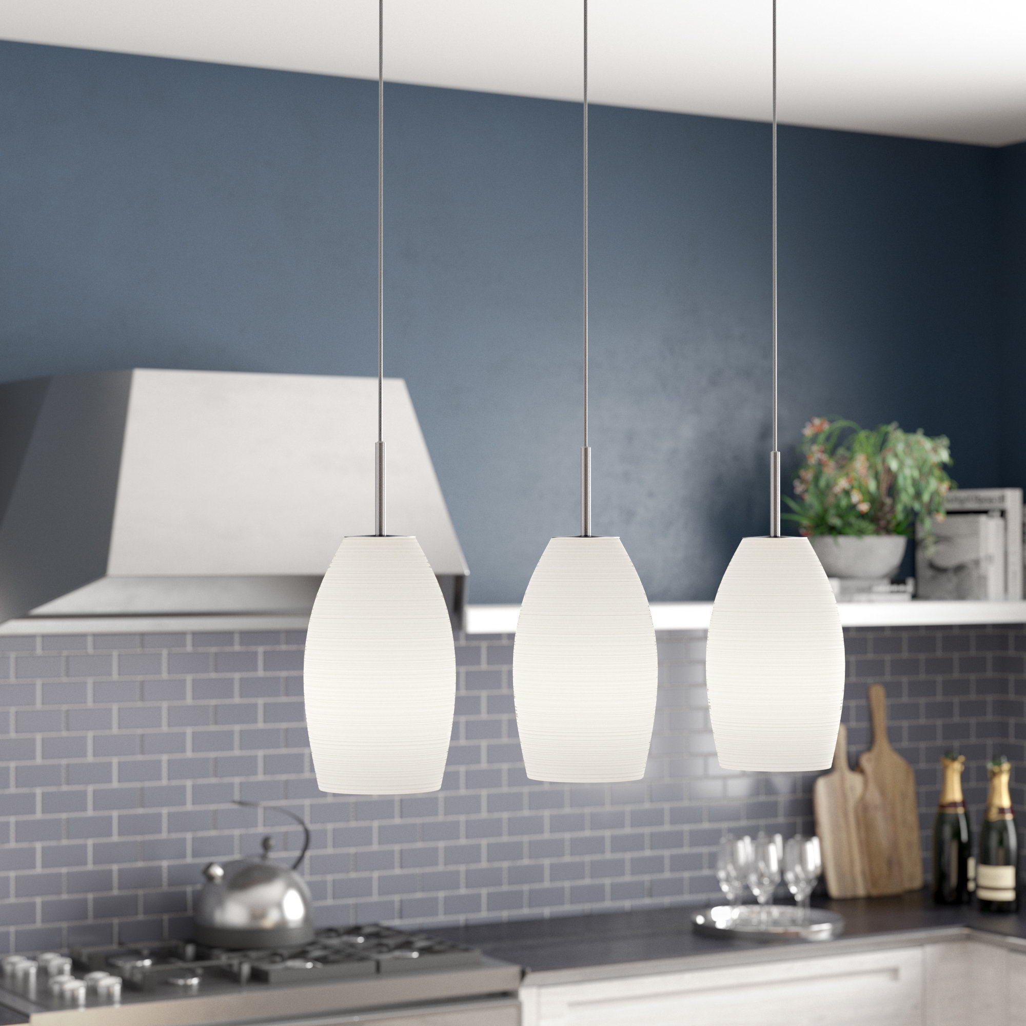 Most Popular Guro 1 Light Cone Pendants Pertaining To Anna 3 Light Kitchen Island Pendant (View 23 of 25)