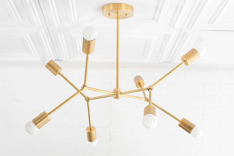 Most Popular Johanne 6 Light Sputnik Chandeliers In Geometric Lamp – Modern Brass Chandelier – Ceiling Fixture (View 21 of 25)